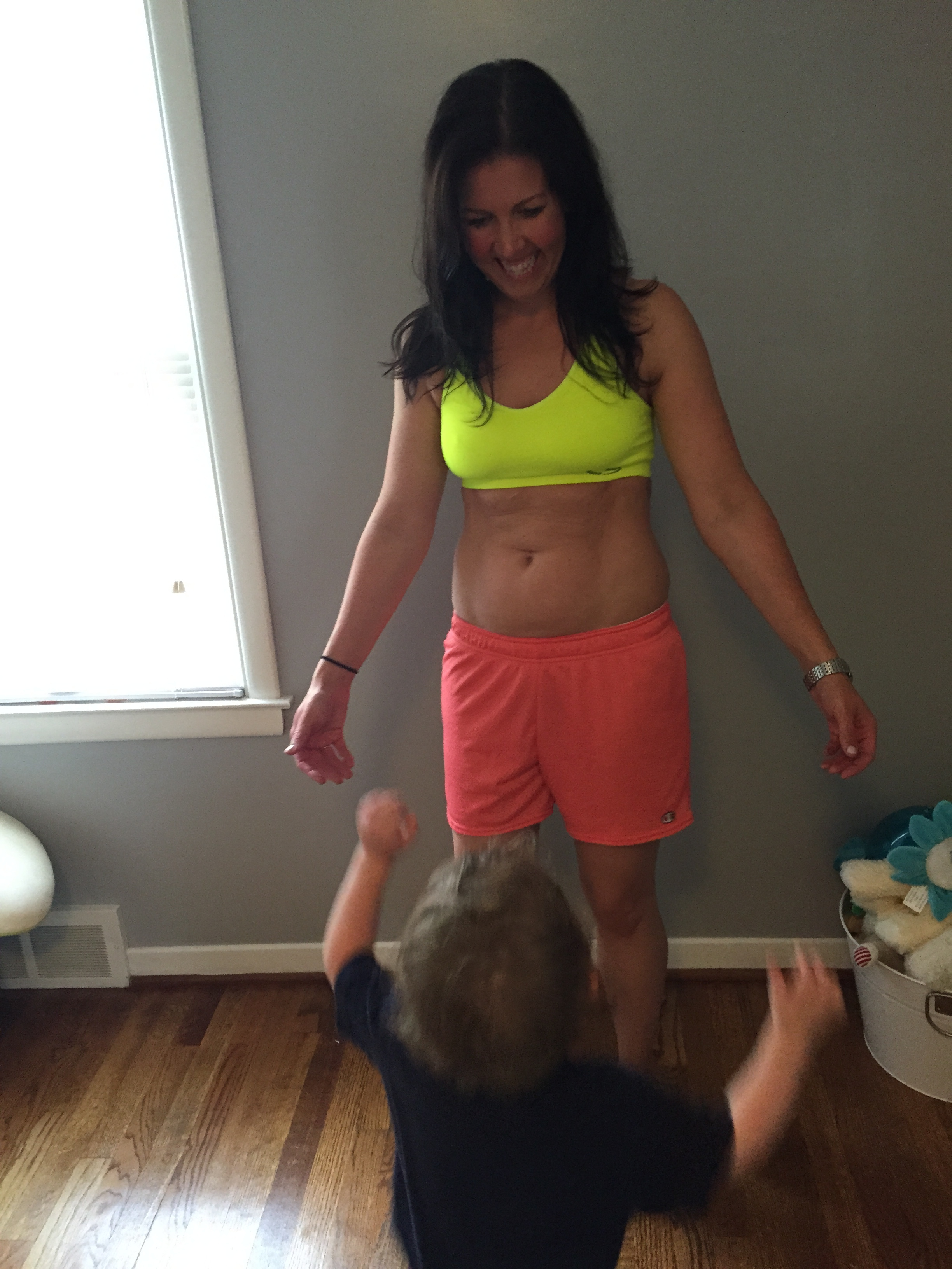 Ashley before a workout with her mini!