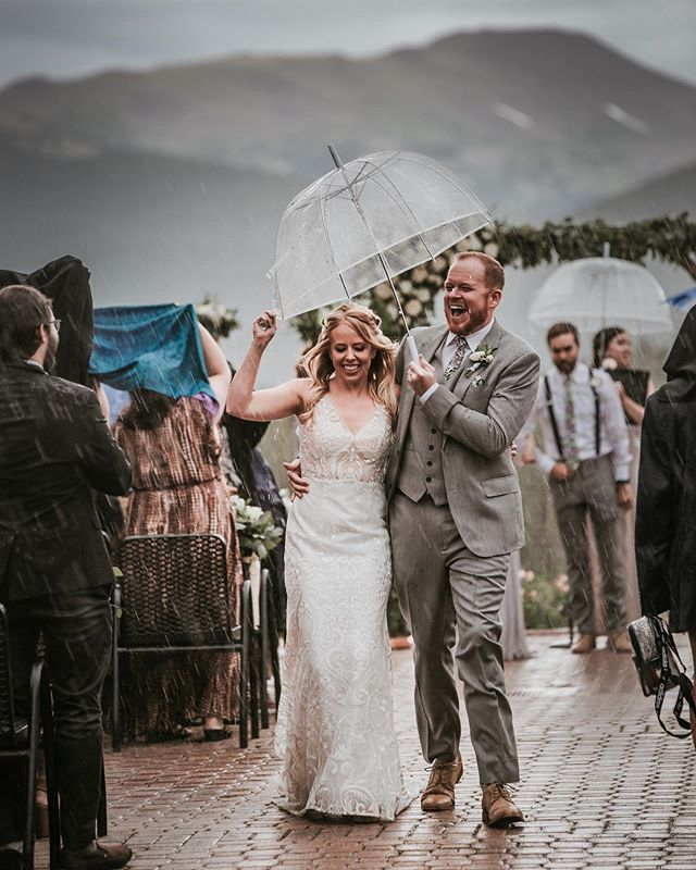 A gorgeous, rainy Colorado wedding. Congratulations to Megan, and Donnie! Their faces say it all.  #tenmilestation #bridegroom #breckenridgecolorado #mountainweddings #coloradophotography #colorado_creative #rainywedding