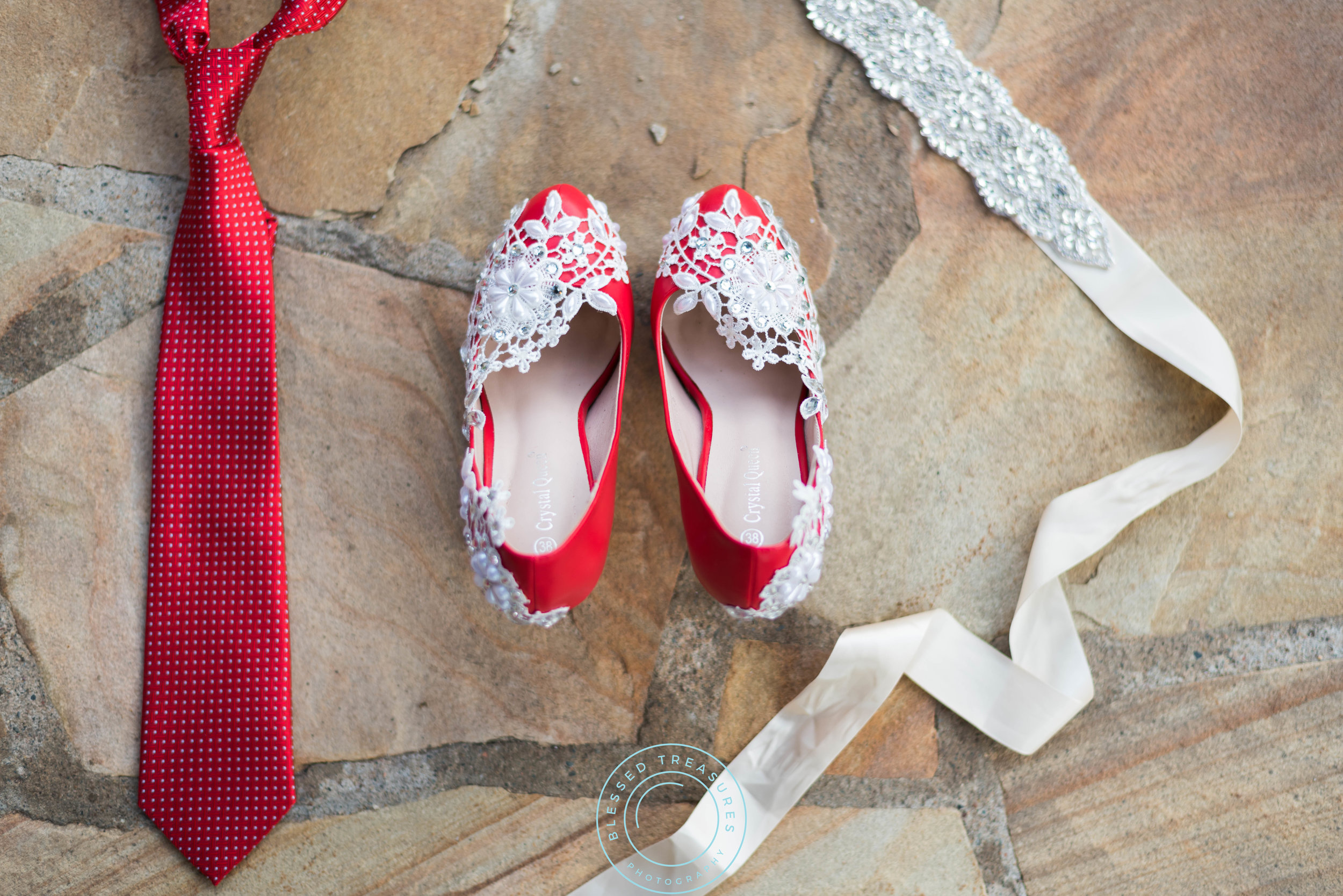 red wedding pumps with lace and beads, red tie, beaded wedding dress sash