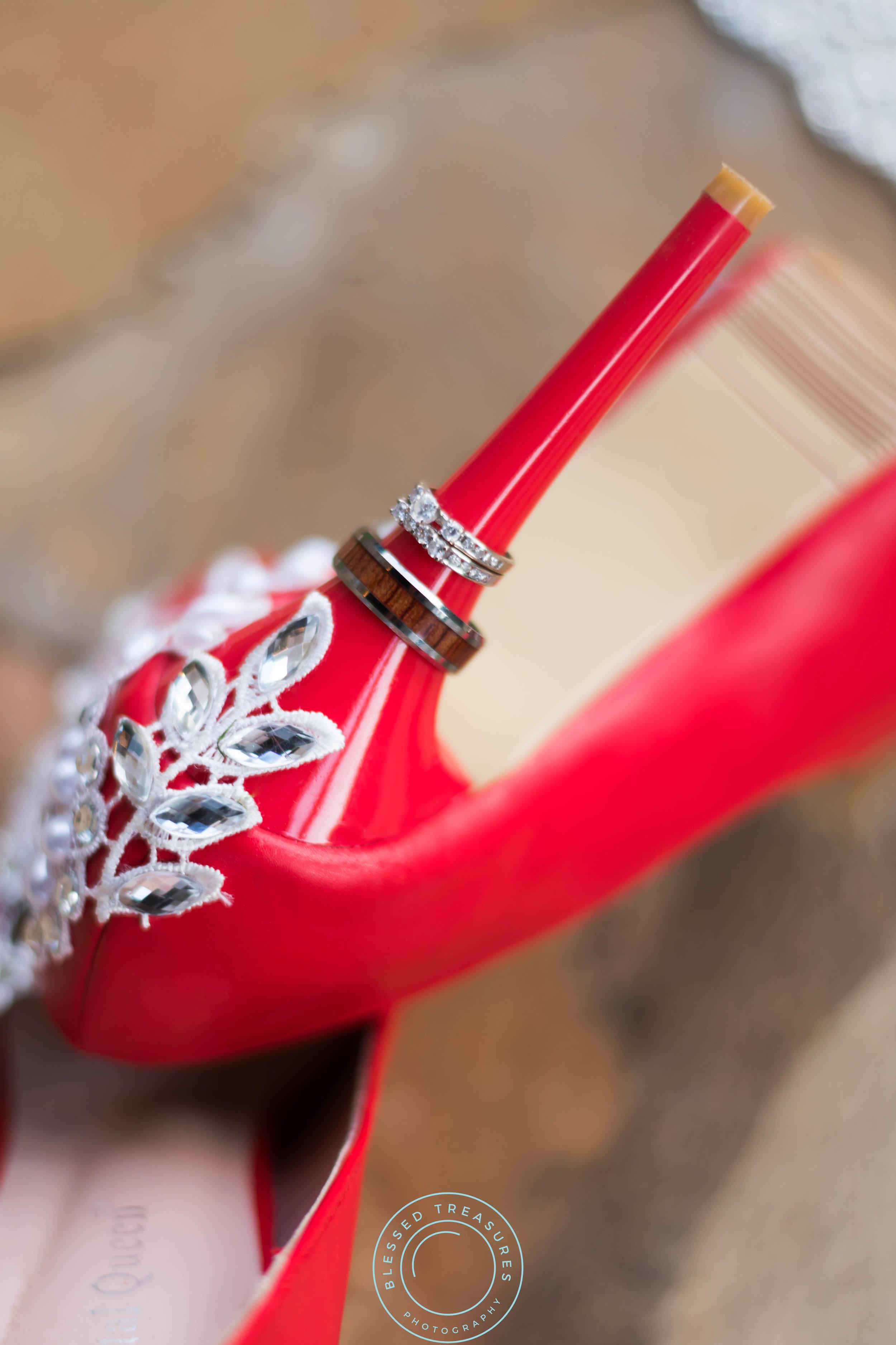 red wedding pumps shoes with diamond wedding ring wood wedding band on heel
