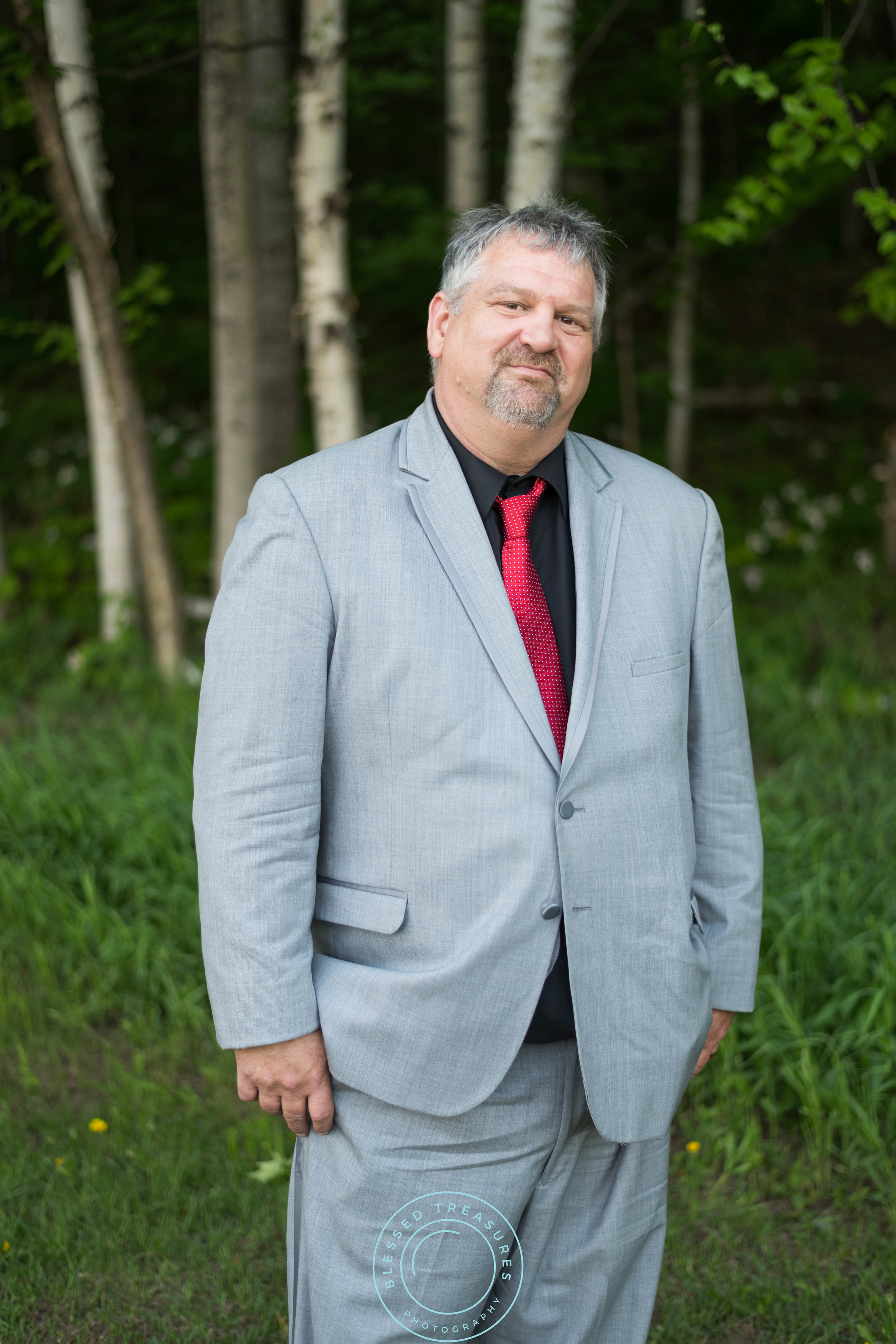 formal wedding gray suit vest red tie black shirt