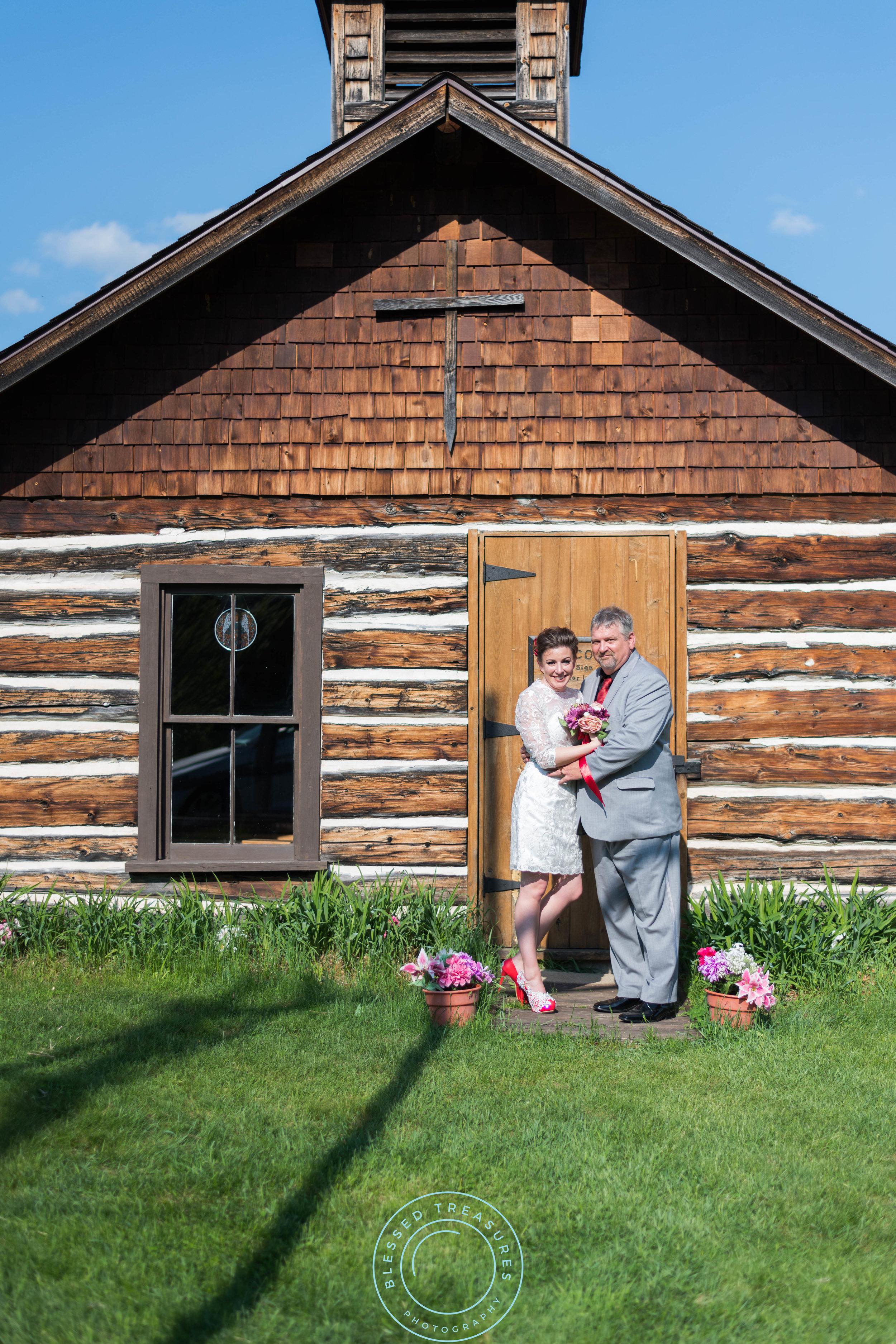 Mansfield township pioneer church crystal falls michigan wedding location white lace wedding dress red pumps