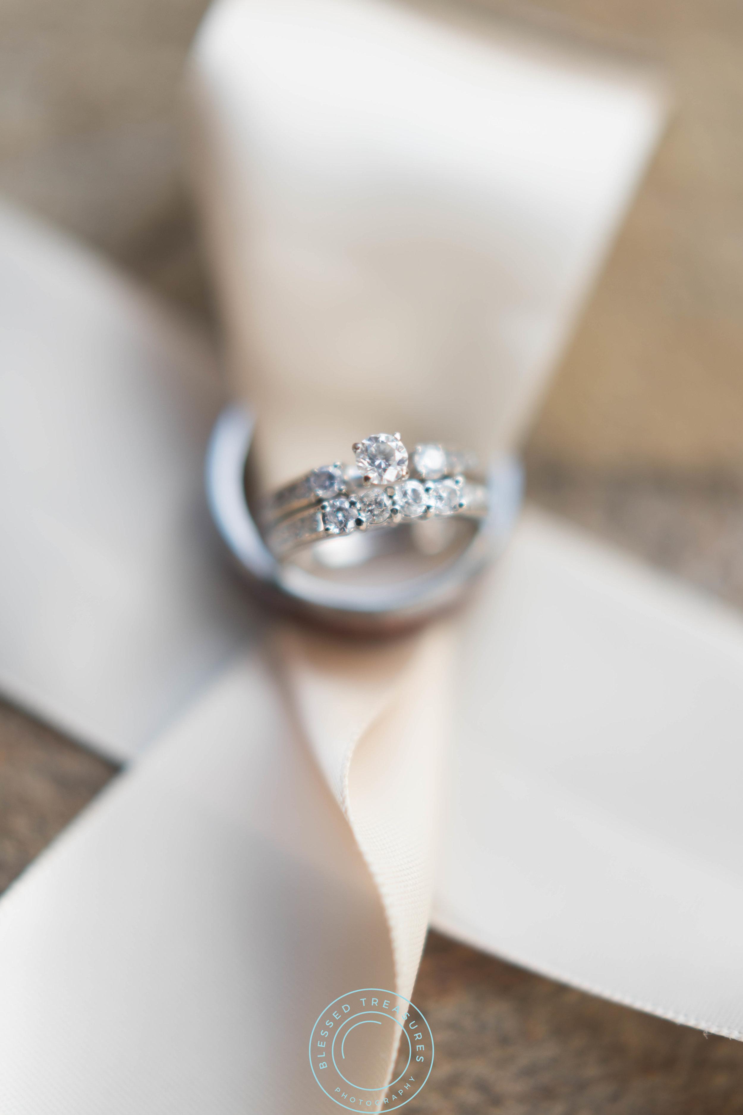 diamond wedding engagement ring wood band cream beige ribbon sash