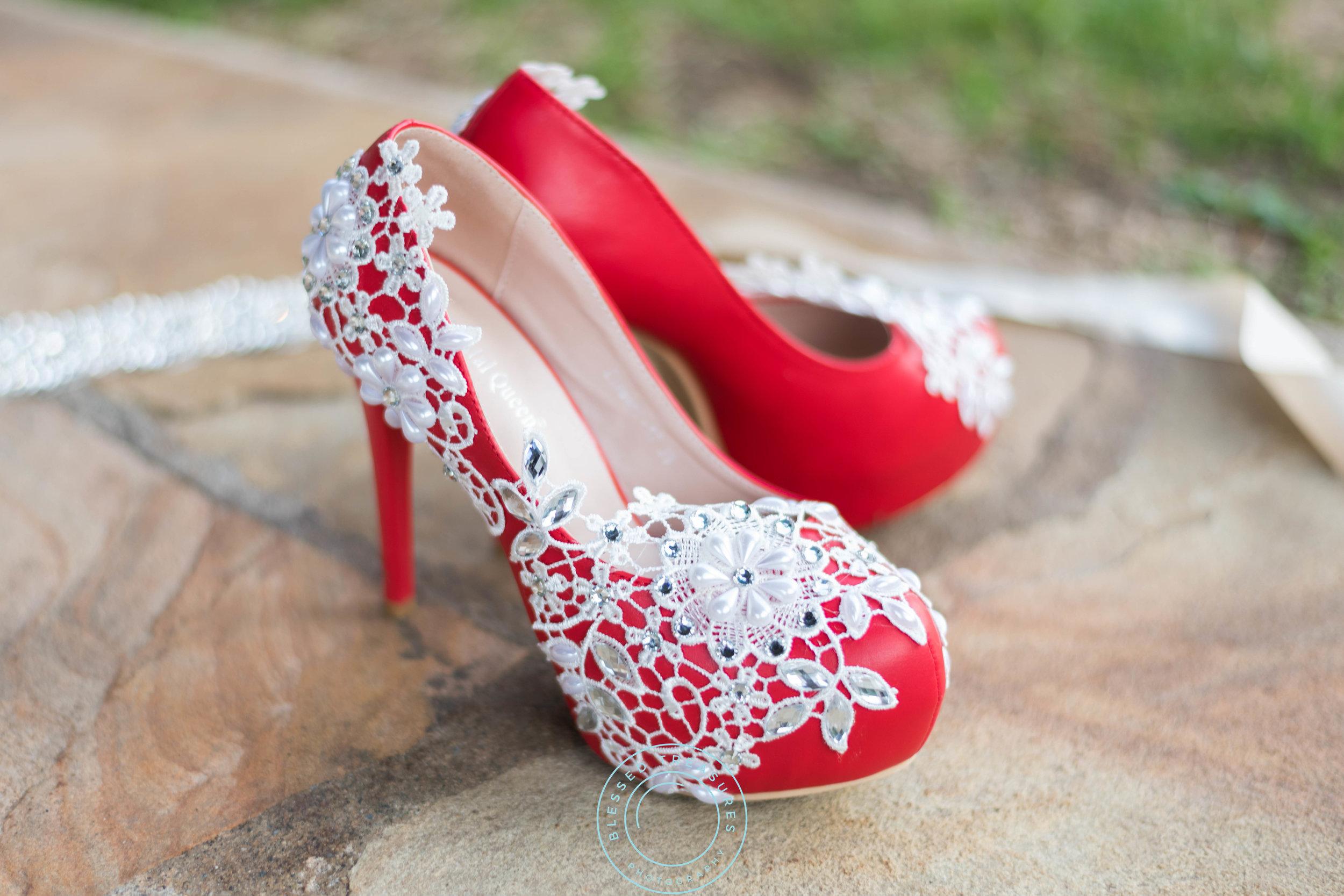 red heels pumps wedding shoes lace diamond sequin decoration