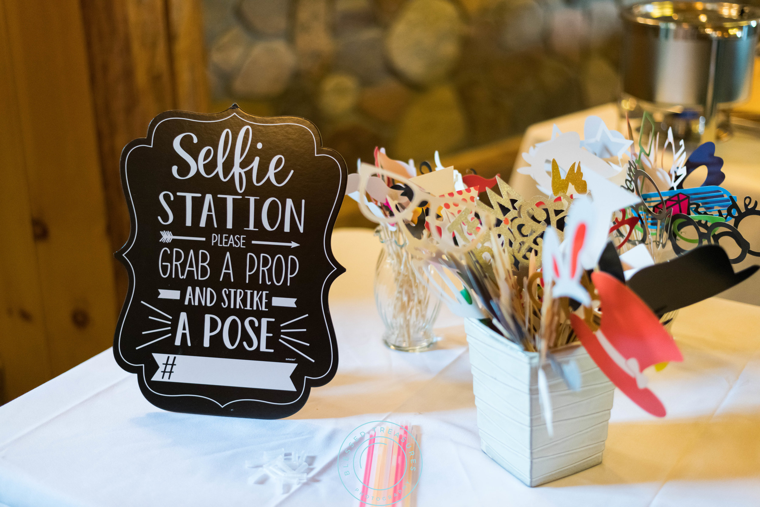 George Young complex banquet hall golf course iron river michigan wedding selfie station props