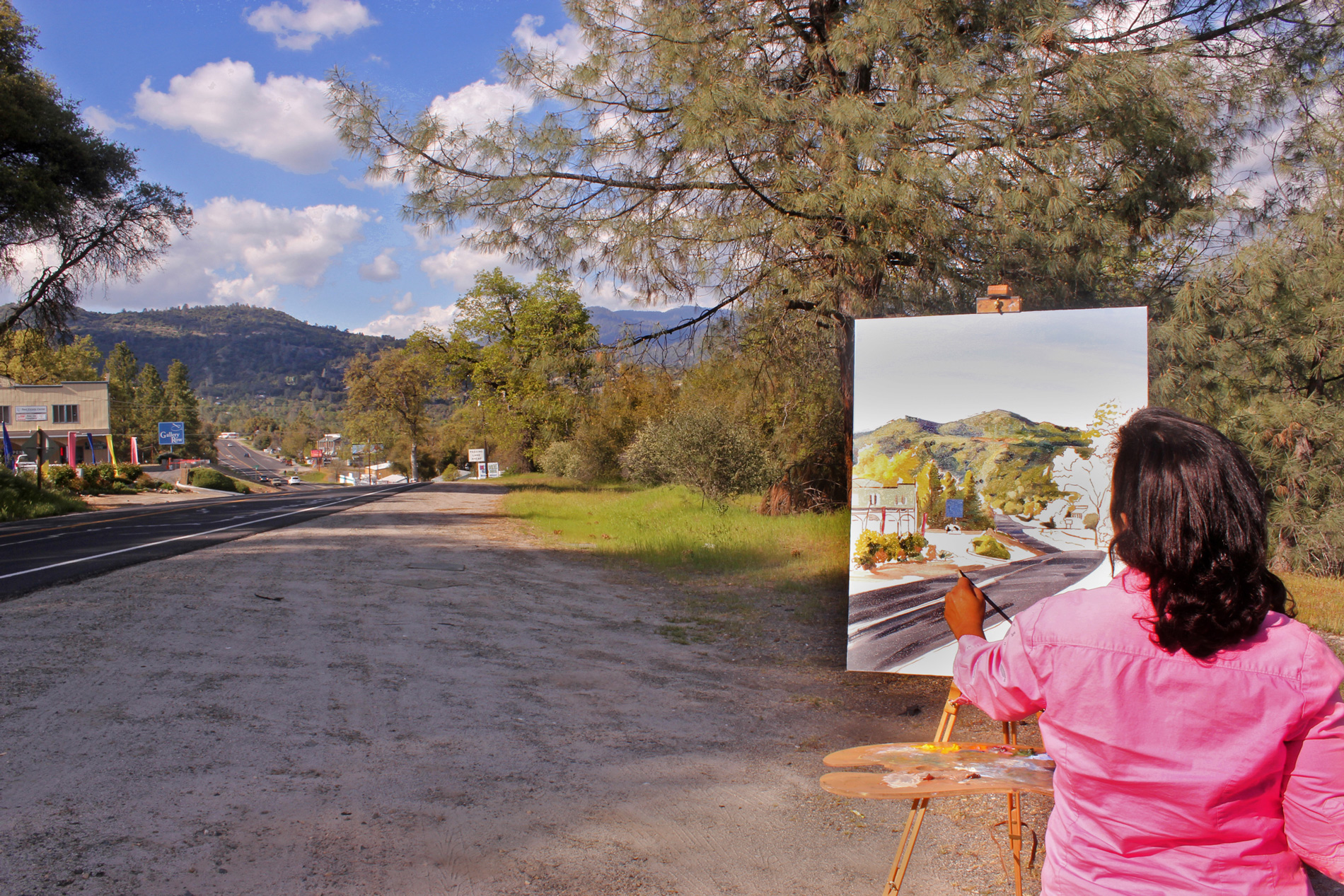 SIERRA ART TRAILS rITA ALVAREZ PAINTING IN OAKHURST, CA