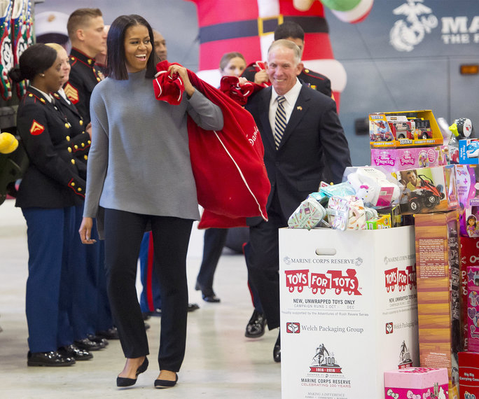 Michelle Obama wears Victor Alfaro at Toys for Tots Fundraiser