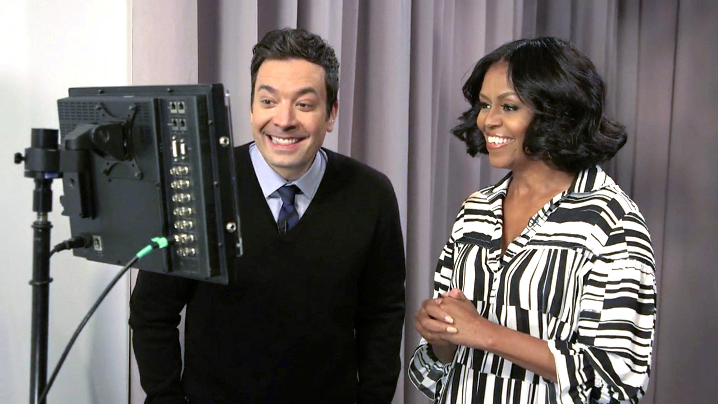 Michelle Obama wearing Victor Alfaro on Jimmy Fallon