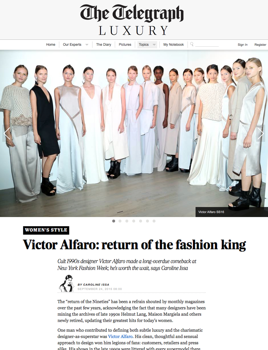 Victor Alfaro Spring 2016 Collection feature on The Telegraph