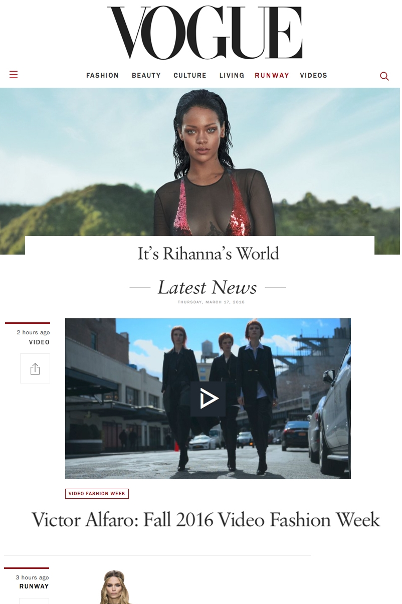 Video featured on Vogue Video Fashion Week