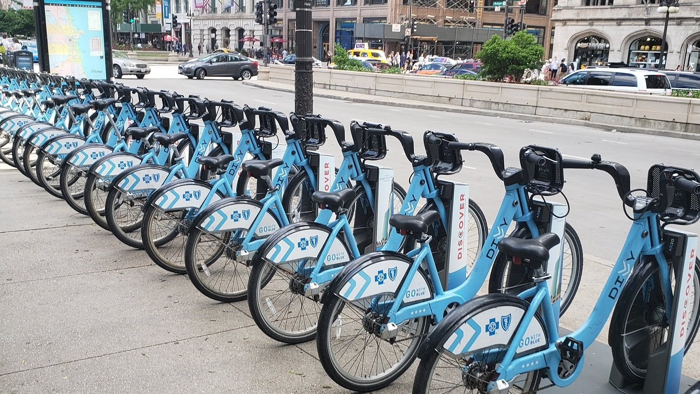 Divvy bike stations can be found throughout the city.