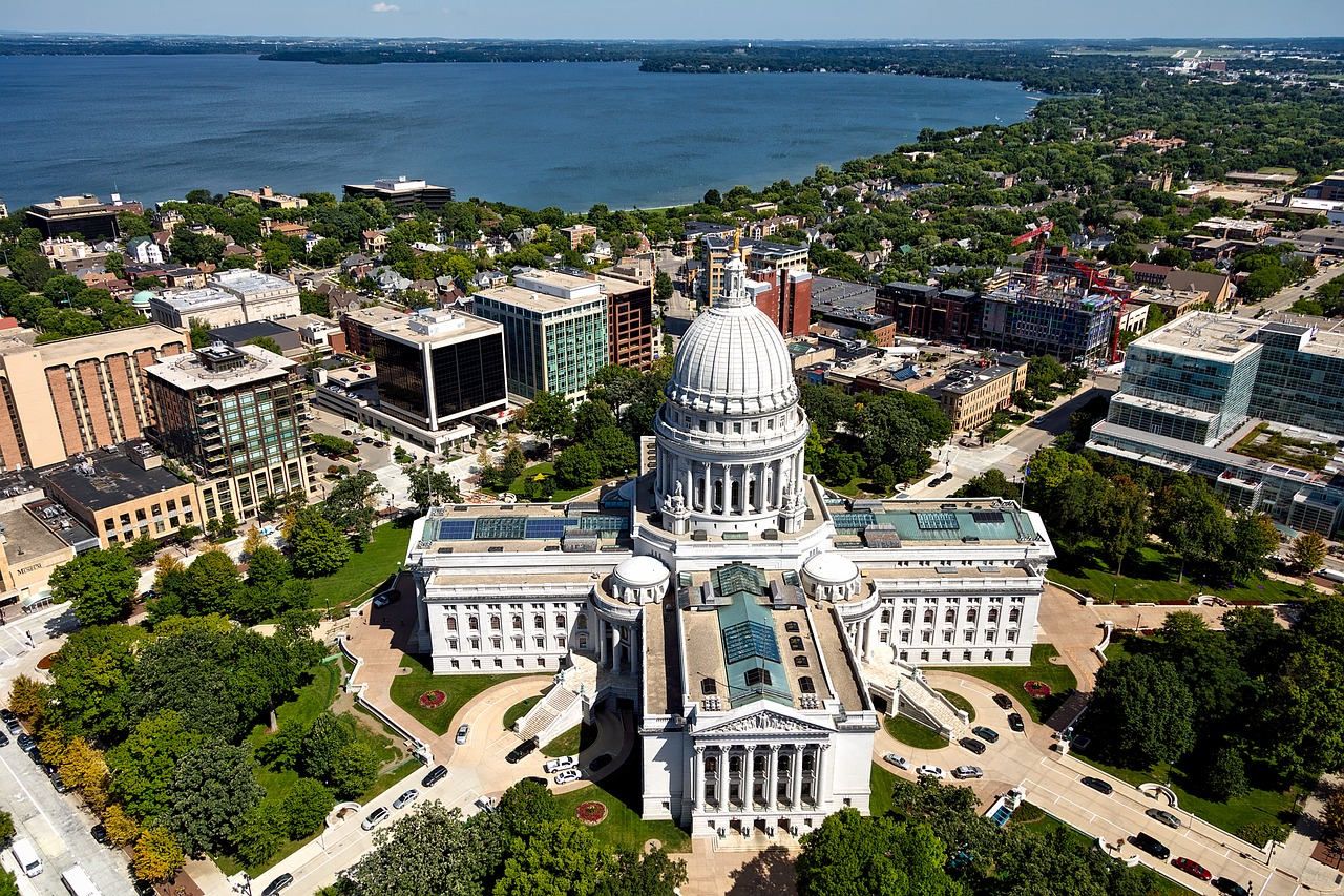 An aerial view of Madison, WI