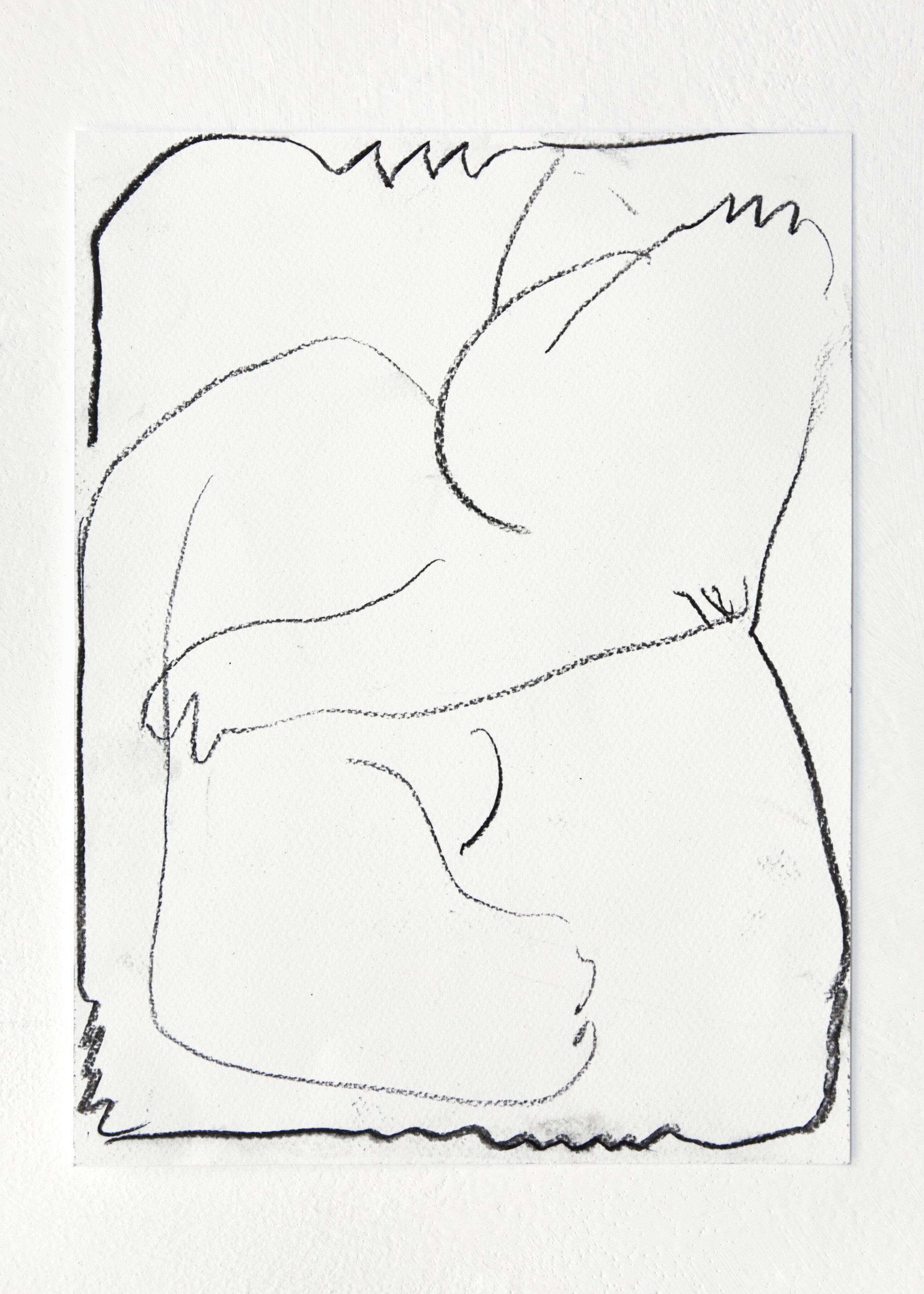 4eva   2019  Charcoal on watercolour paper  24 x 32 cm