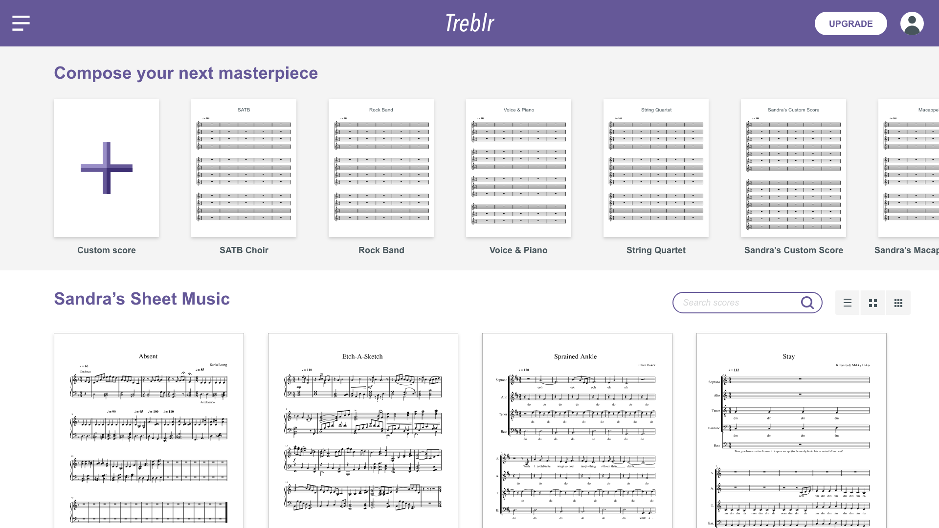 Treblr's dashboard screen.