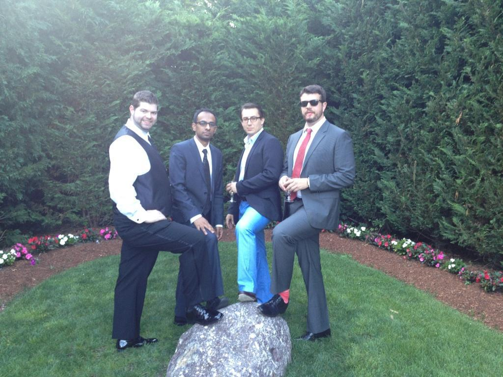 With Surag, Matt and John at Chris & Laura's wedding