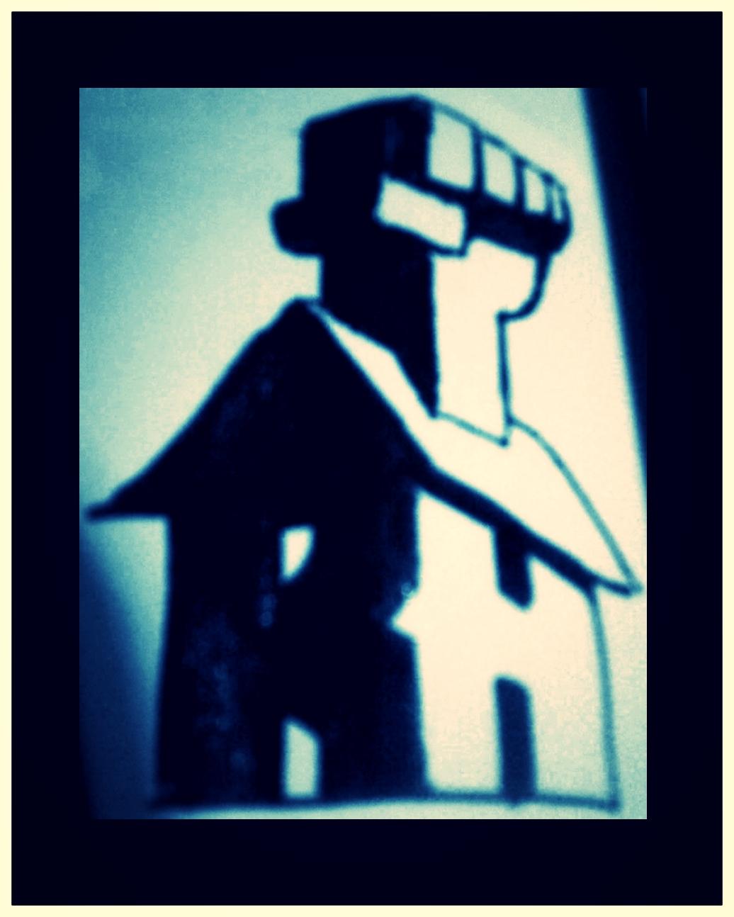 THE FIRST ROUGH HOUSE PUBLISHING LOGO SKETCH. DECEMBER 2011. BRICK & MORTAR INCARNATE!