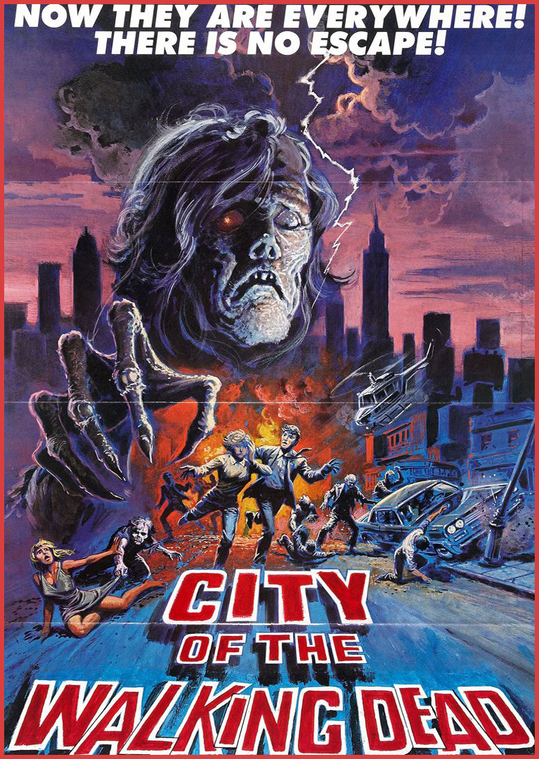 "NIGHTMARE CITY (1980) THEATRICAL POSTER UNDER IT'S US TITLE ""CITY OF THE WALKING DEAD"" RELEASED IN THE US ON NOVEMBER 18th 1983"