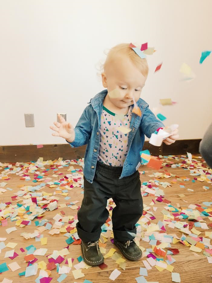 Fox throwing himself a confetti party.