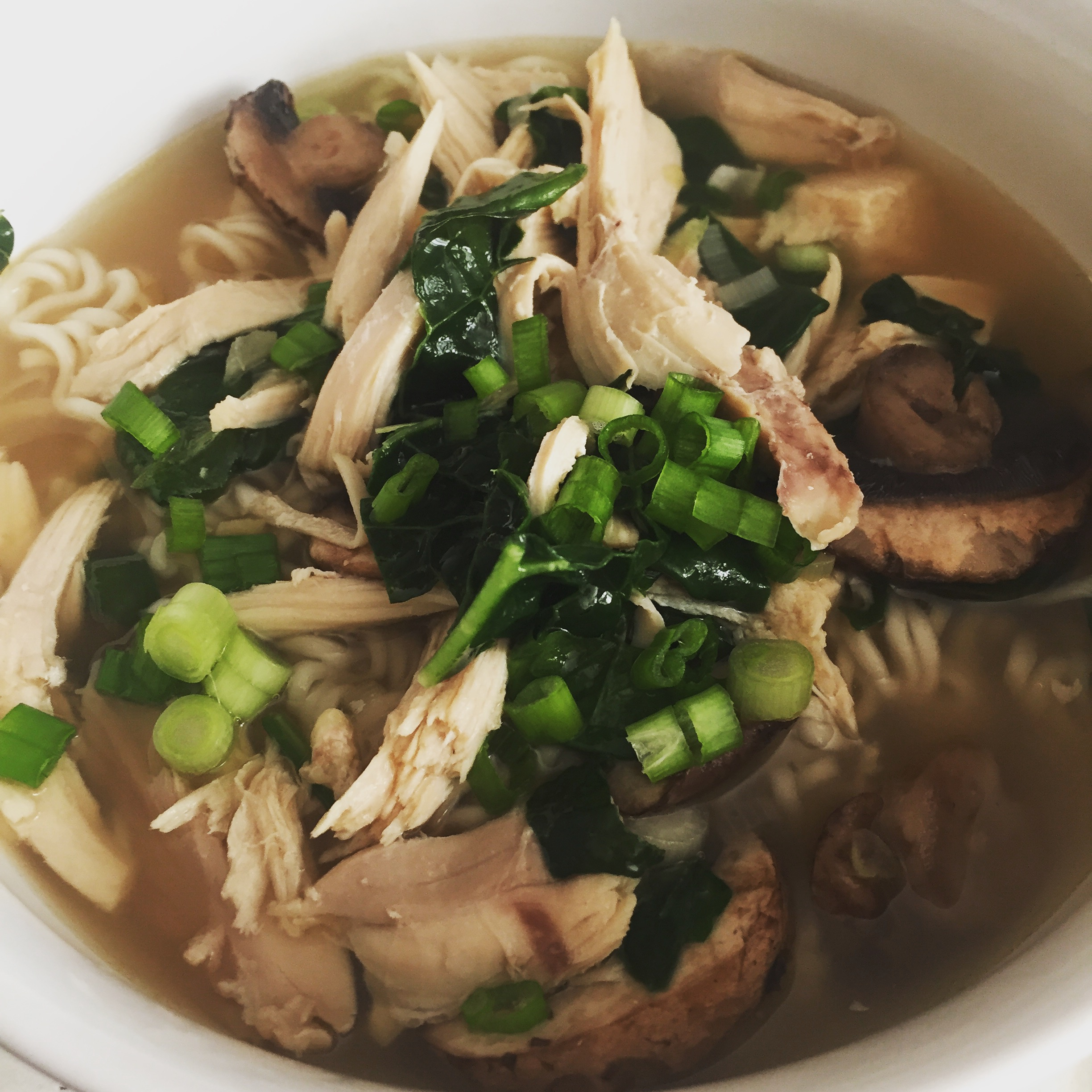 Shredded rotisserie chicken makes this Chicken Miso soup so easy!