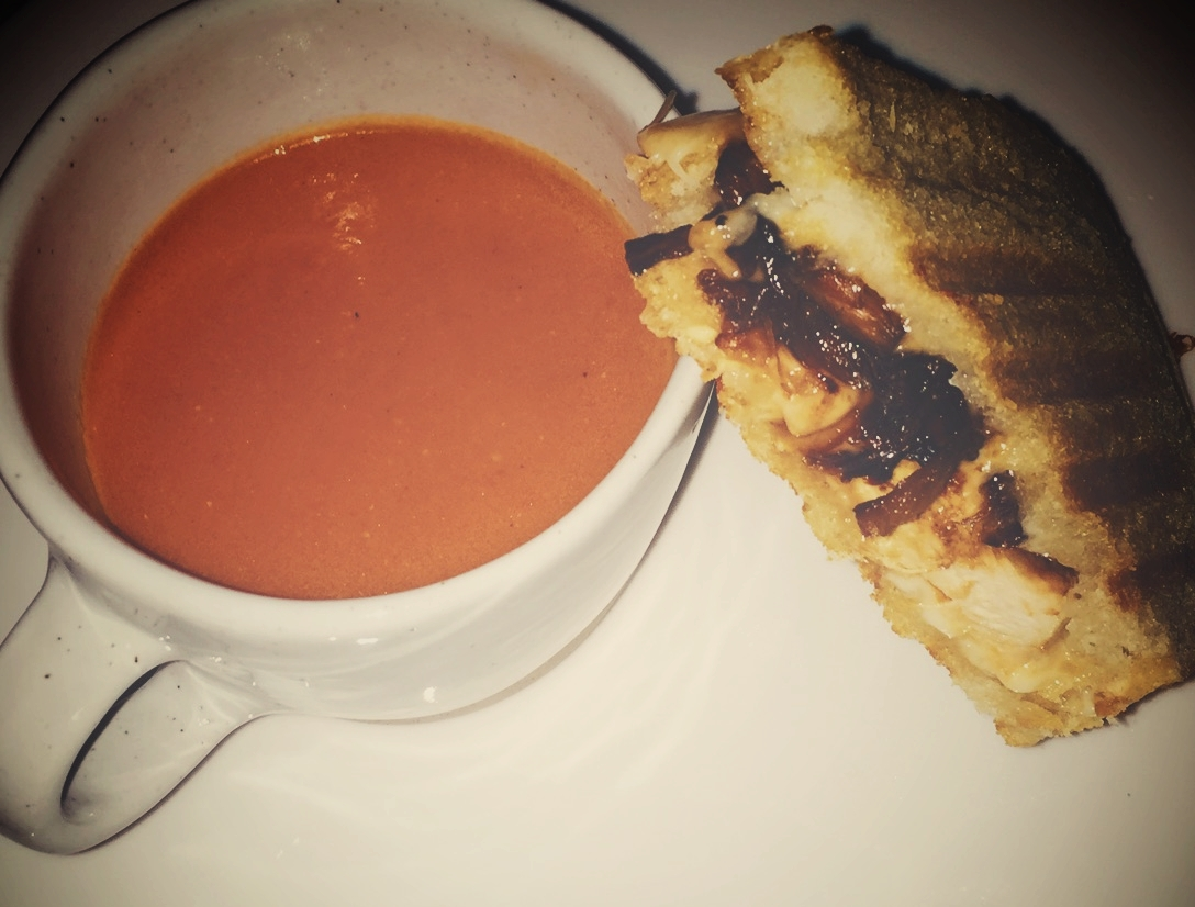 I used my immersion blender to easily puree this roasted tomato soup, but a regular blender works too!