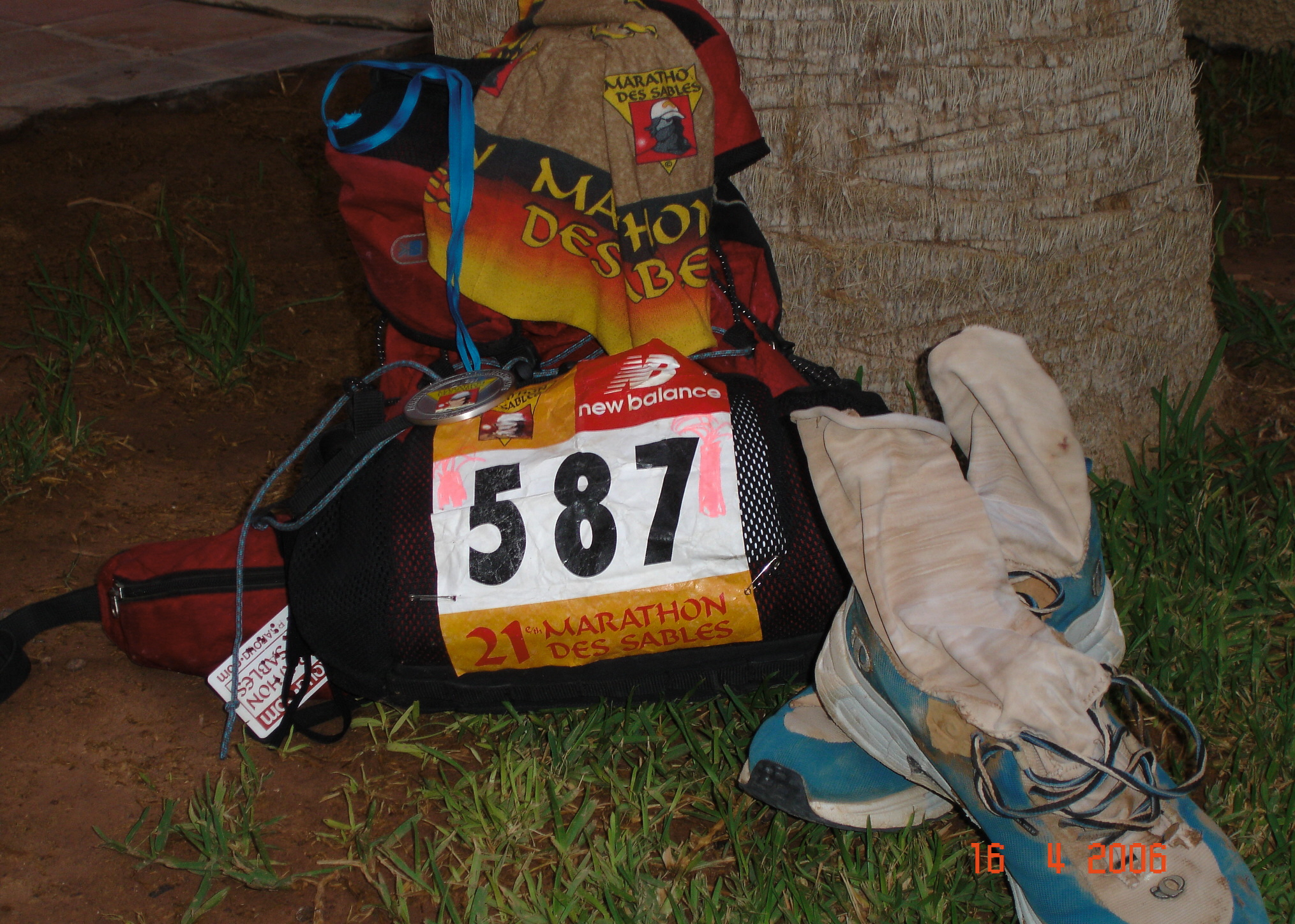 Russell's modified kit from Marathon des Sables