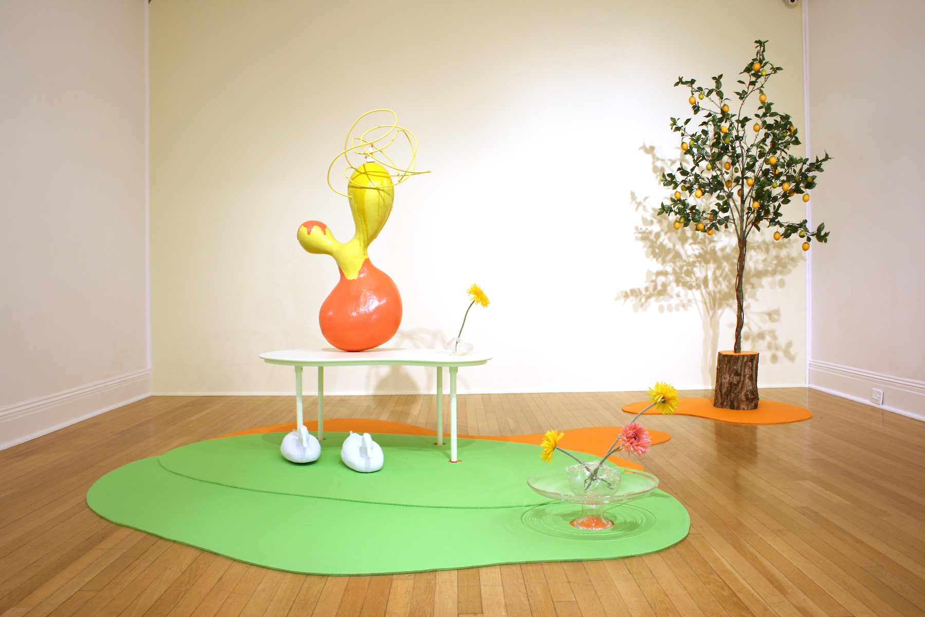 Other Landscape; Room With a View  2009  Pigmented fiberglass, polychrome steel, found china bird, wood, foam mats, blown glass, plastic ducks, flowers, artificial lemon tree, inflatable dimensions variable