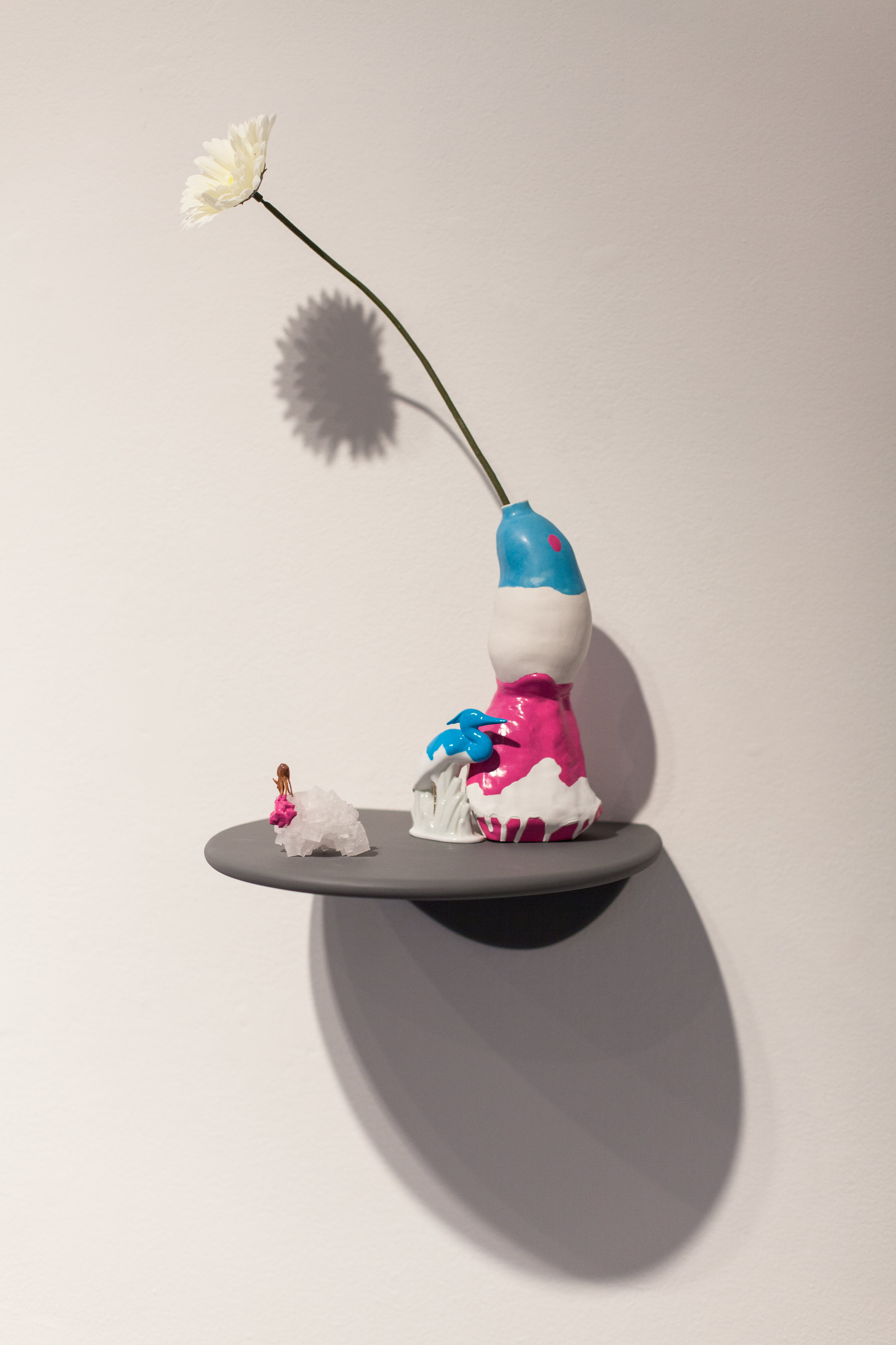 The Spring Before This One, Collection #2   Wood shelf, porcelain bird, salt crystal with plastic animal, porcelain vase and flower. 21 x 12 x 18 inches  2013