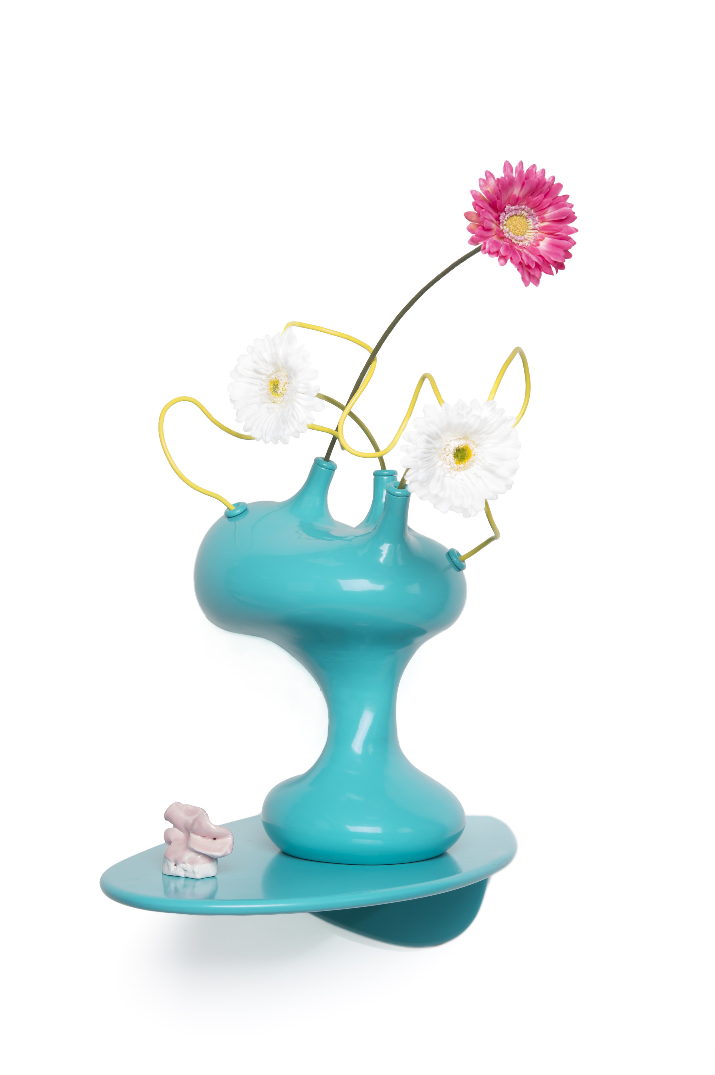 Still Life #12   Pigmented fiberglass, steel wire, porcelain flowers, wood shelf 18 x 14 x 18 inches  2013