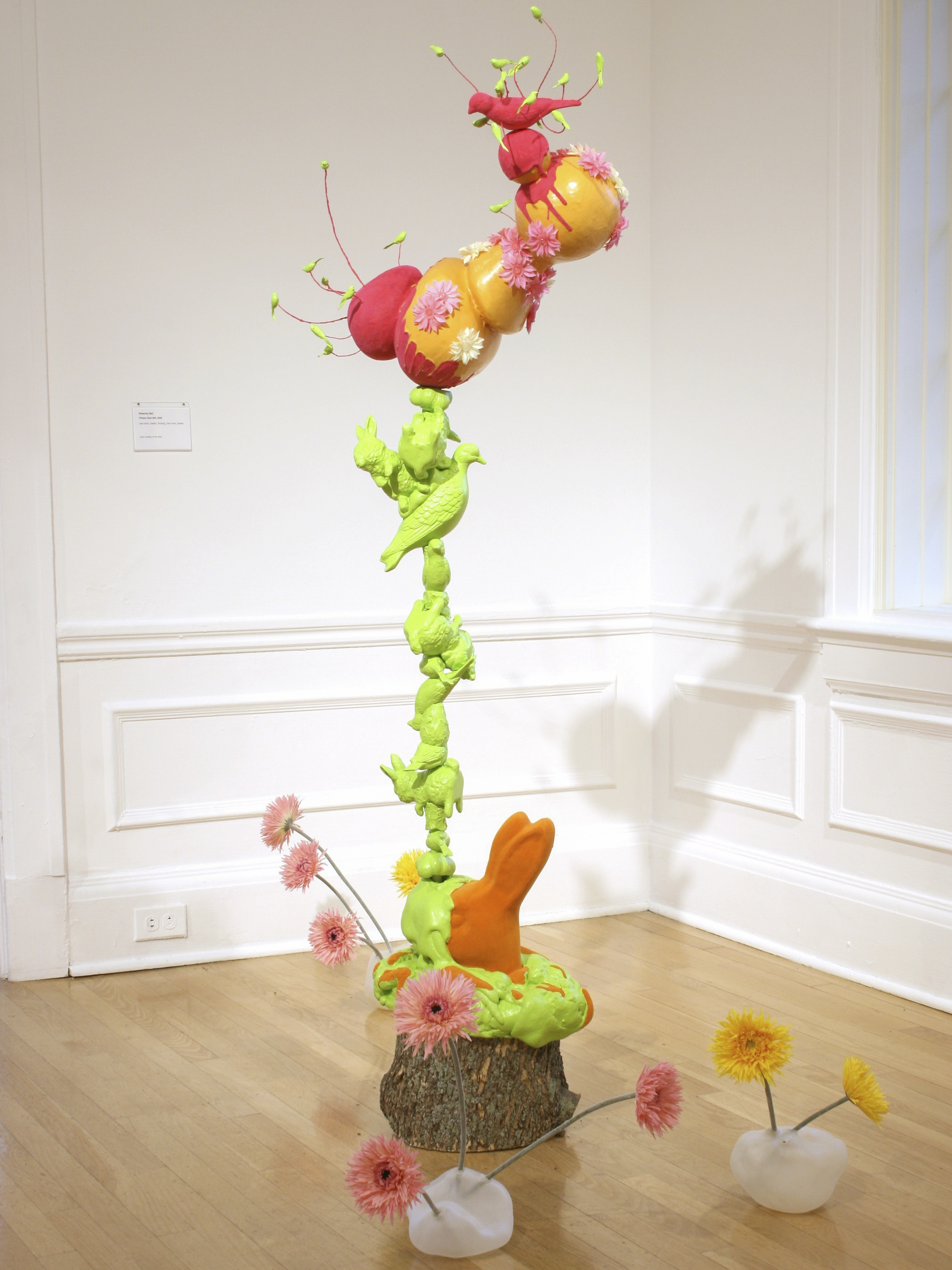 Flower Blob #83  2009  cast foam and plastic, flocking, tree trunk, plaster  65 x 22 x 12 inches