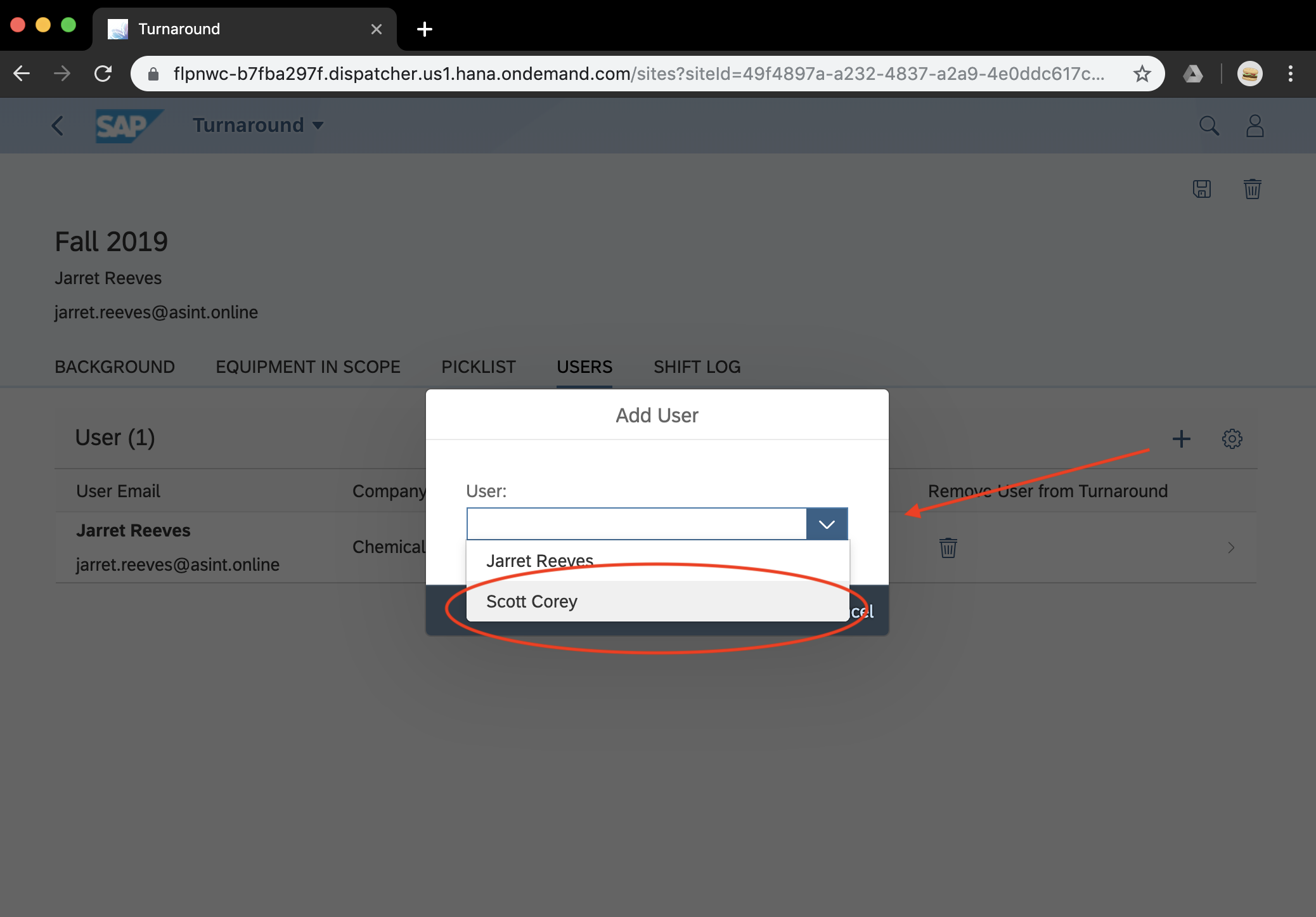 """Click the """"+"""" button   A pop up will appear to show the users who have been assigned to the Owner/User.  NOTE: Step 2 will need to be completed first to see the user in the pick-list."""