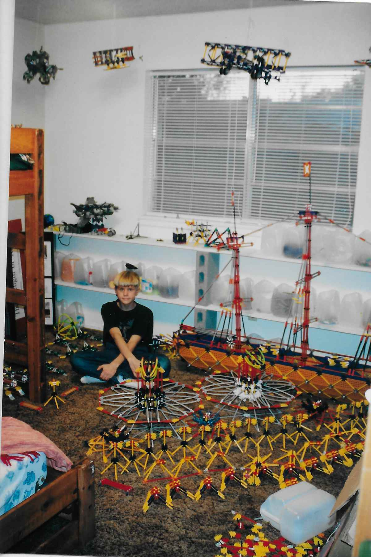 Nicholas with K'NEX in his bedroom in the Brown House.