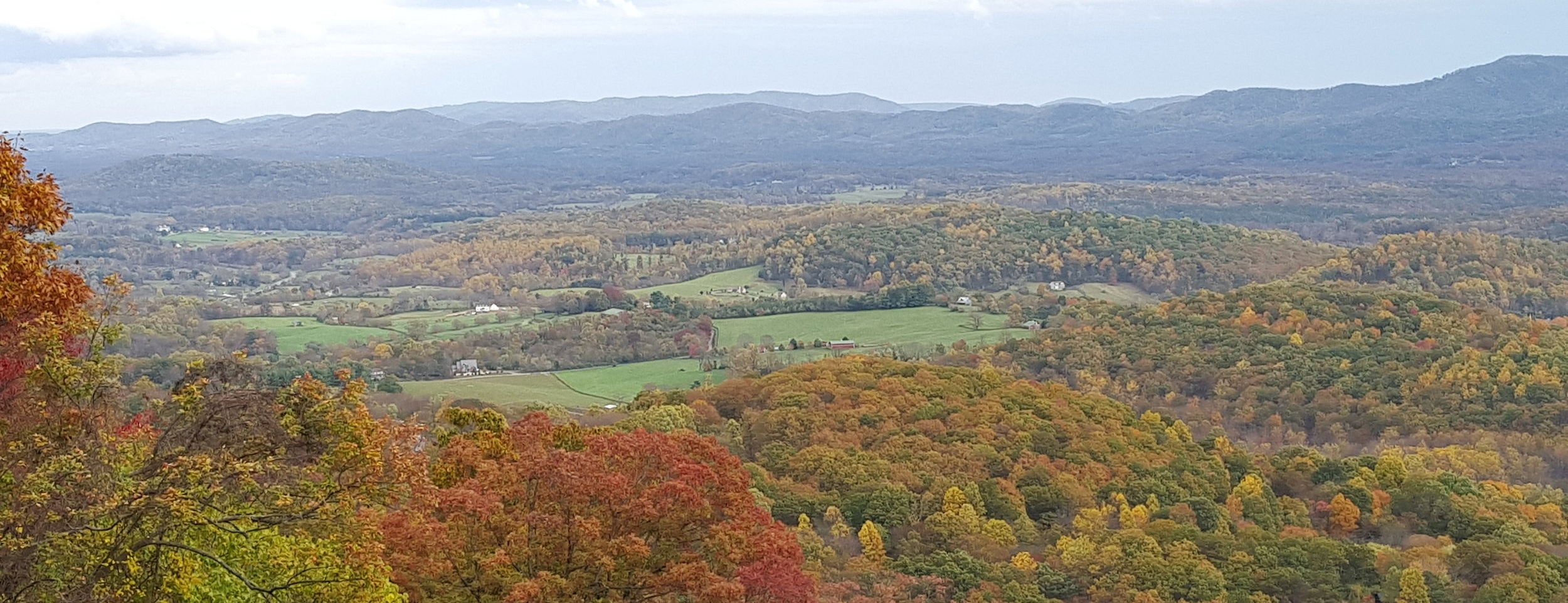 Looking down at the farm from Skyline Drive
