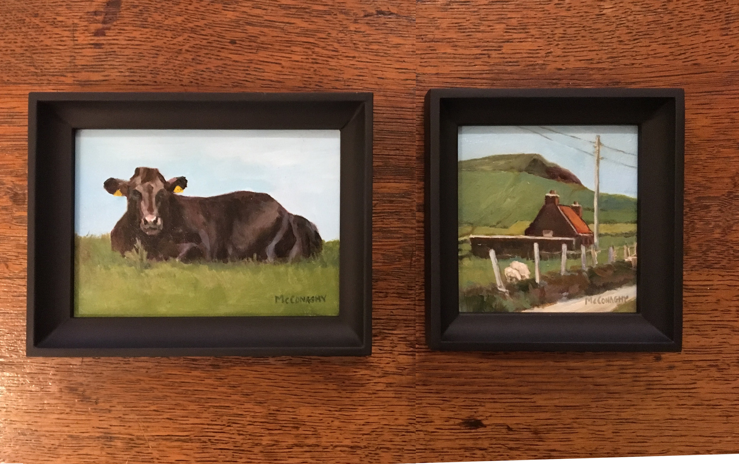 HERE IS A NICE GROUPING OF TWO SMALL PAINTINGS !