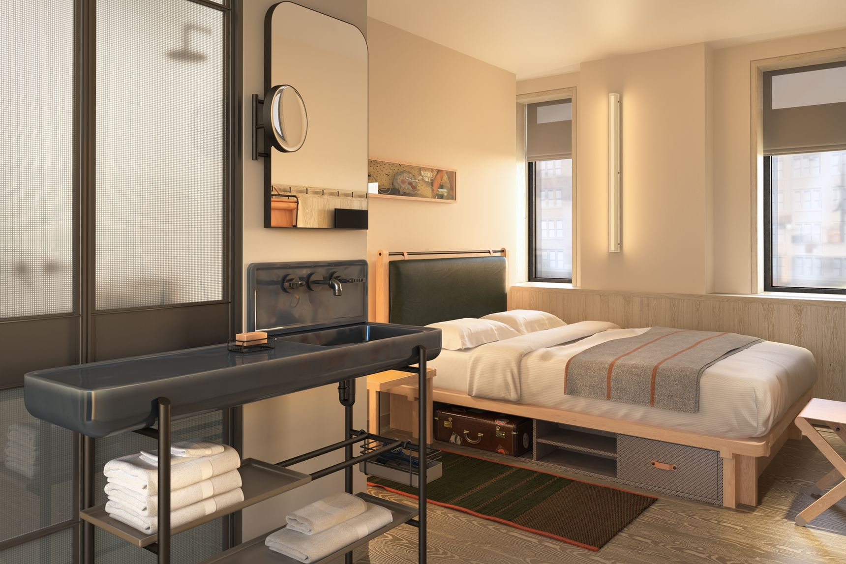 Moxy Hotel Times Square Releases Renderings of Yabu Pushelberg Designed Rooms