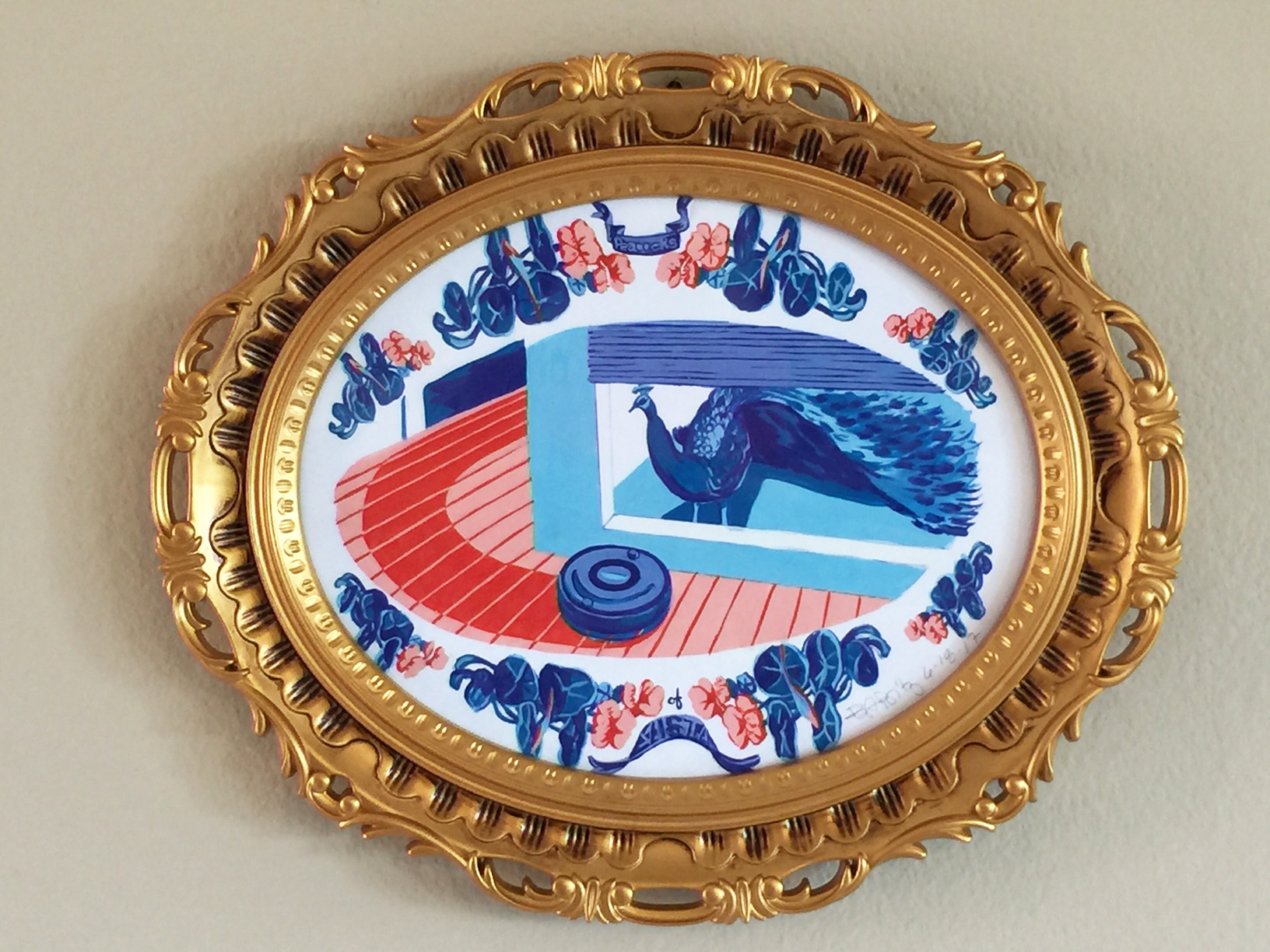 """Ron and Roomba:original painting,gouache on paper;gold, resin Rococo frame with glass, 11"""" x 13"""" framed"""