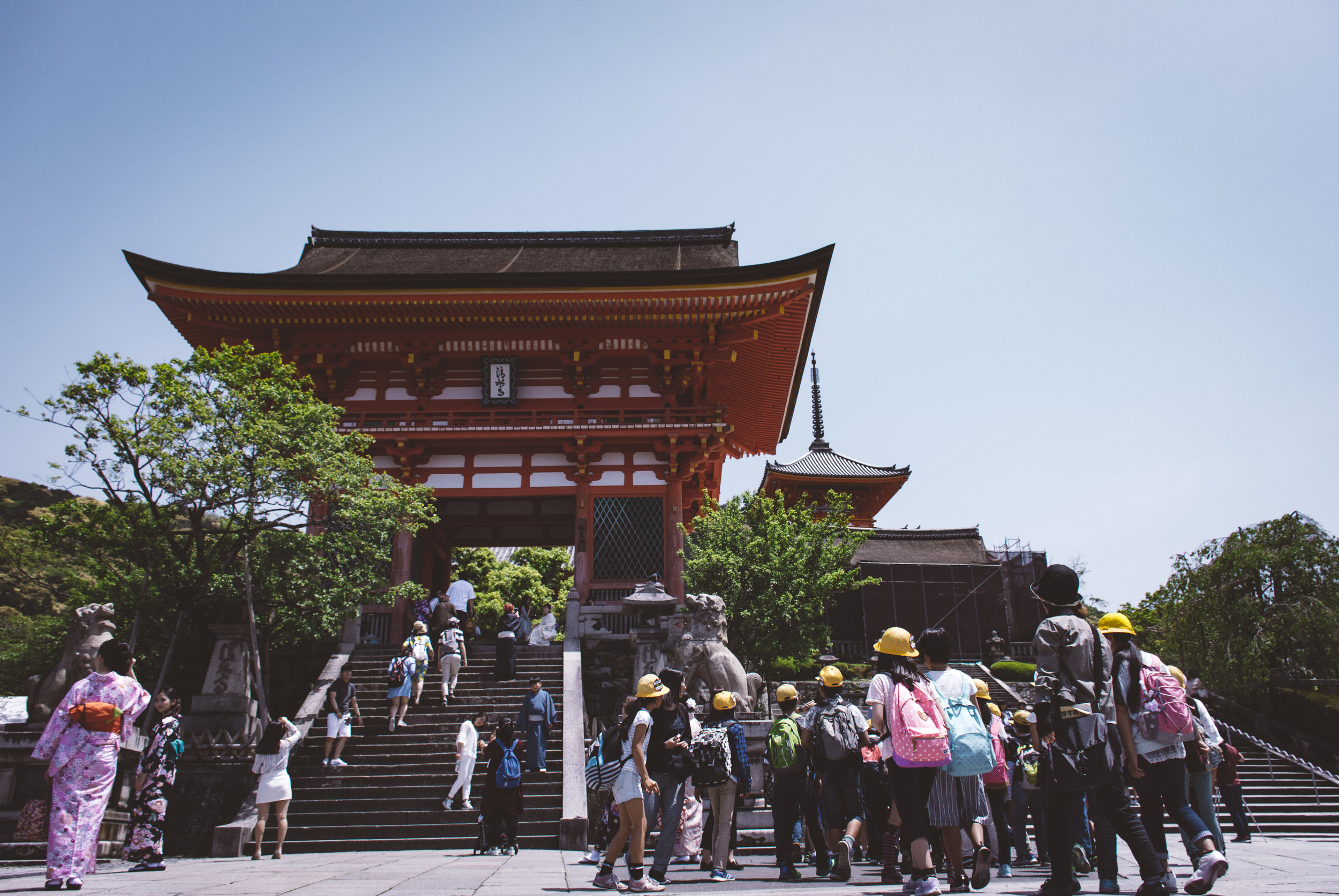 kyoto has it all - Temples, kimonos, tradition, children, selfies, construction -- this is Kyoto. Fast-paced, fashionable, full of history. (And touring school groups.)