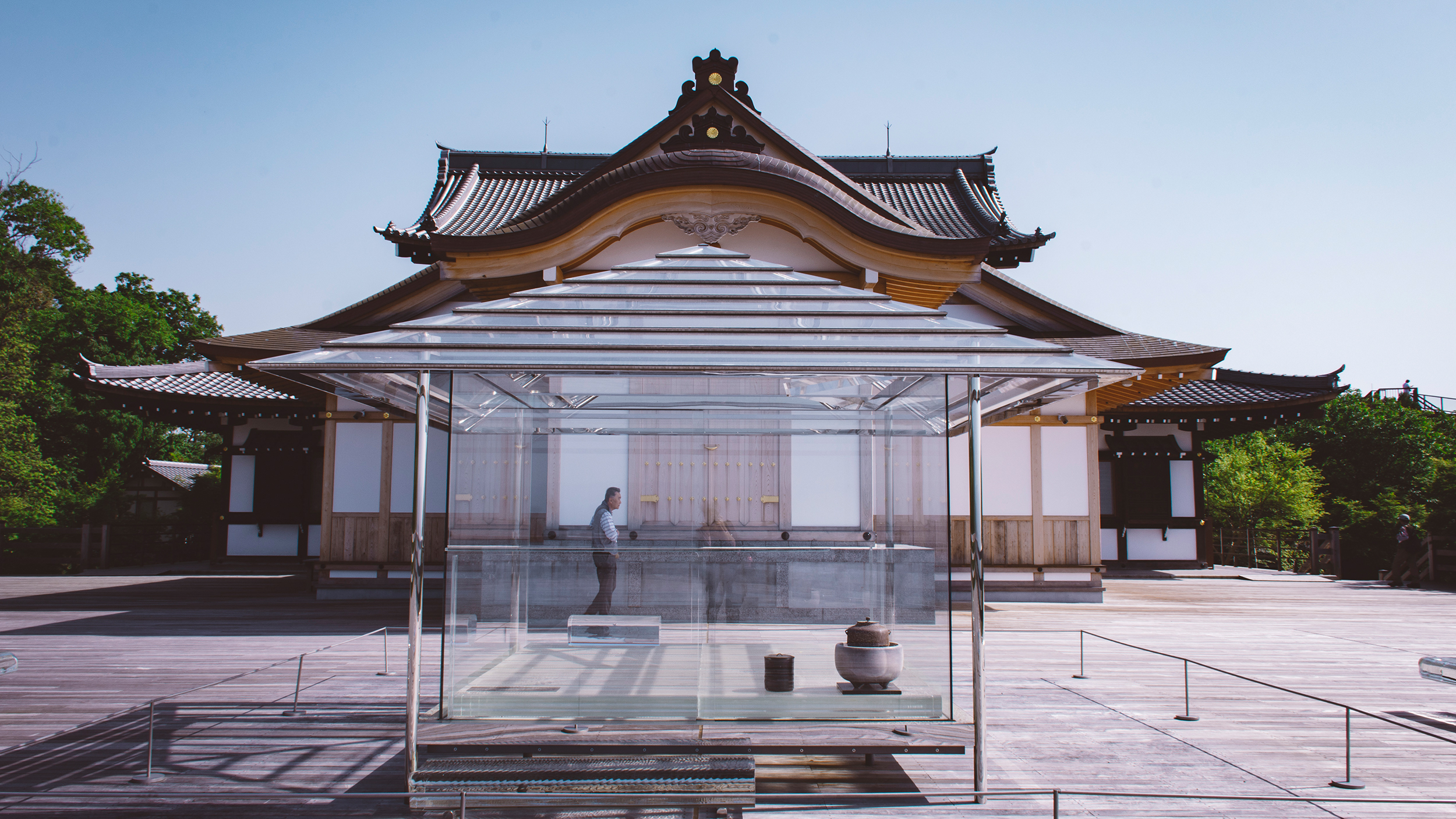 Seiryuden Temple. Kyoto. It features a glass temple installation on its observation deck.