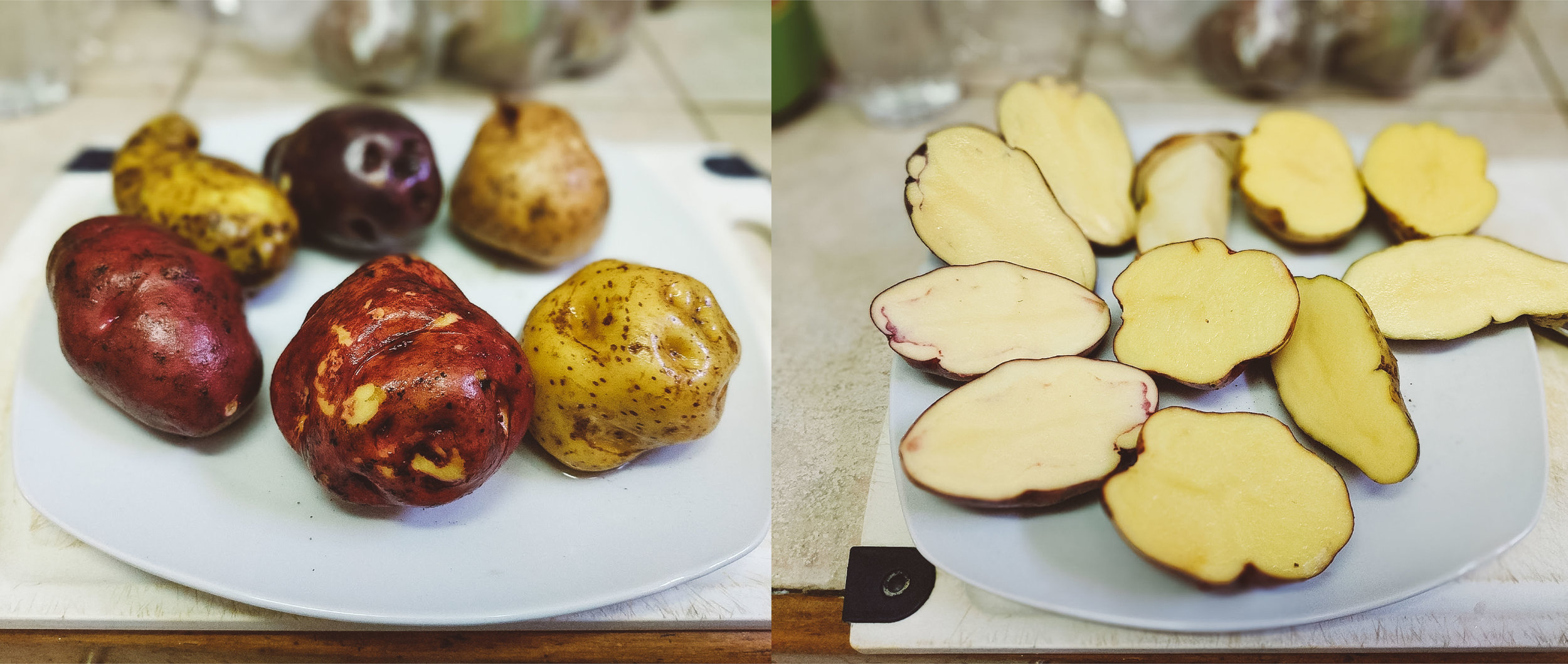 Six varieties of potatoes, but all while/yellow inside!