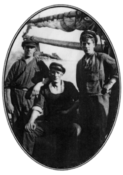 Circa 1920 (left to right) Gunnar, Hjalmar, and Knut Abrahamsson aboard their cargo ship off the coast of Sweden.