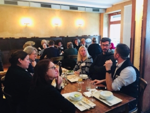 Jeanette and colleagues at lunch during the American Translators'' Association's German Language Division Workshop in February of 2018.