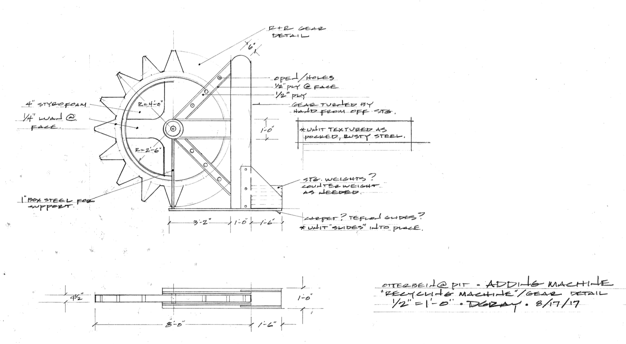 Machine Gear Technical Drawing