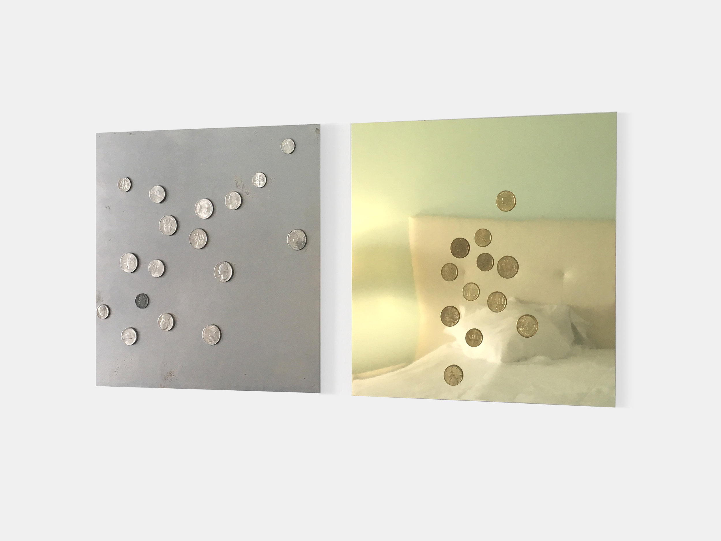 Mikkel Carl  Britney Survived 2007 – You Can Handle Today (1) , 2016 United States coin currency on milled steel sheet (left panel), Eurocents on anodized aluminum sheet (right panel) 12 x 12 inches (31 x 31 cm) each MC4