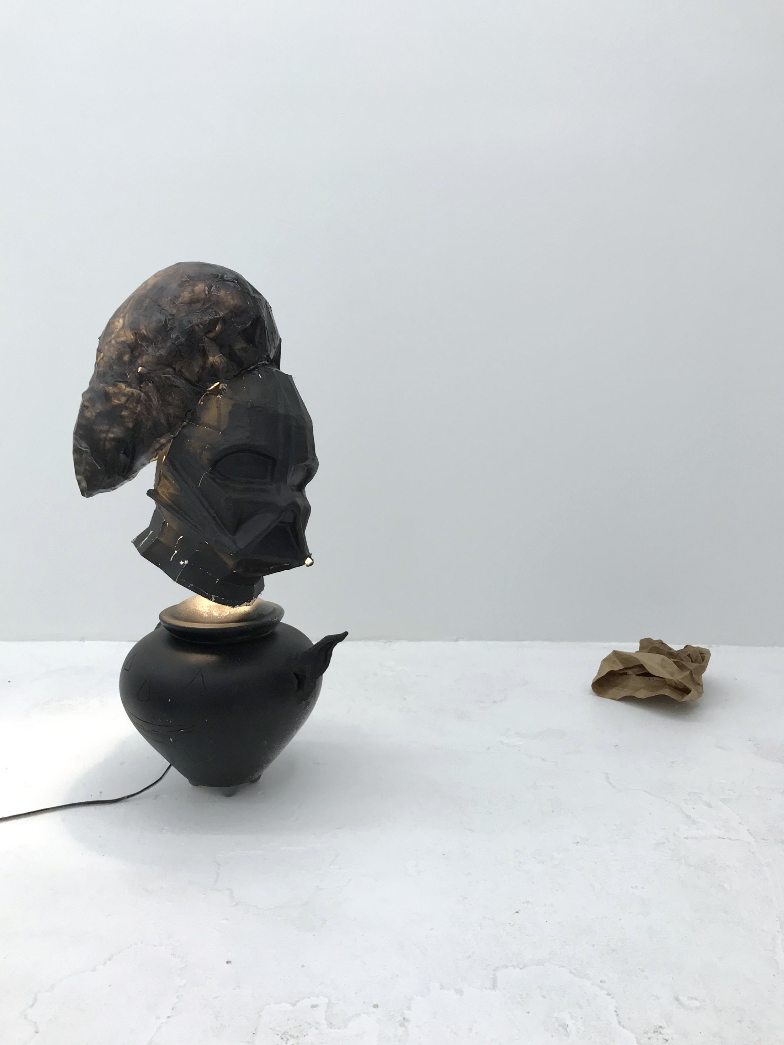 Daniel Klaas Beckwith  artifacts left by a vanishing body,  2017 (lamp);  spooky trash , 2017