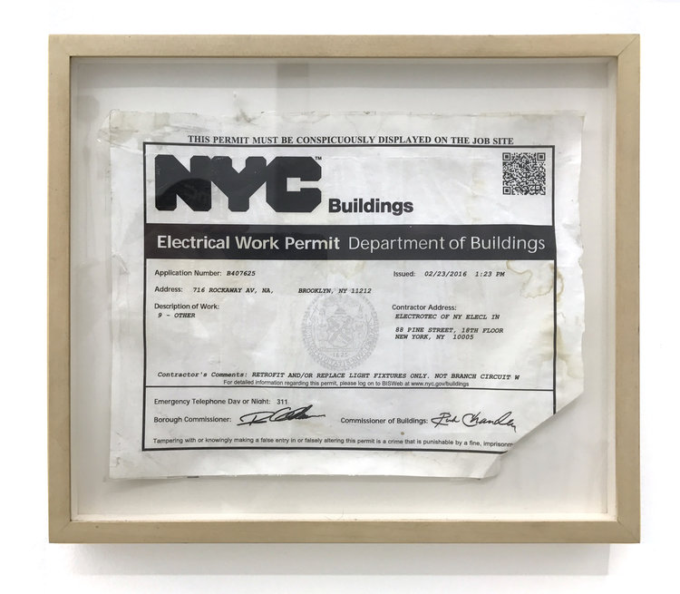 Sean Donovan  Electrical Work Permit, Department of Buildings, Application Number: B407625 , 2017 found permit, tape, adhesive, frame 11 x 8 1/2 inches (28 x 22 cm) SD31