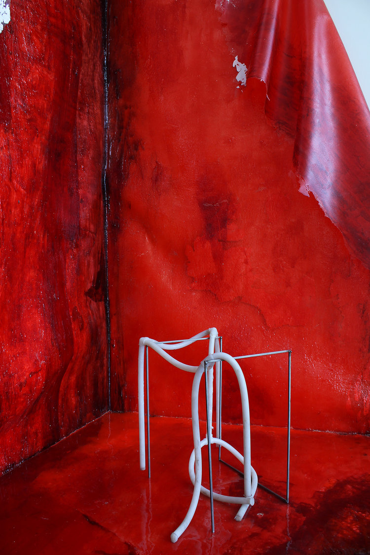 Michal Alpern  Raving , 2017  (Raving & Melancholy)  pigmented rubber, pigmented silicone, metal rods, pigmented resin 70 x 110 x 120 inches (178 x 279 x 305 cm) MA2