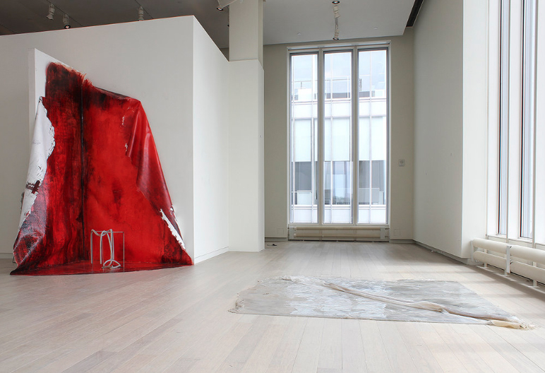 Michal Alpern  Raving & Melancholy , 2017 pigmented rubber, pigmented silicone, metal rods, pigmented resin 70 x 110 x 120 inches (178 x 279 x 305 cm) 84 x 96 inches (213 x 244 cm) MA1, MA2