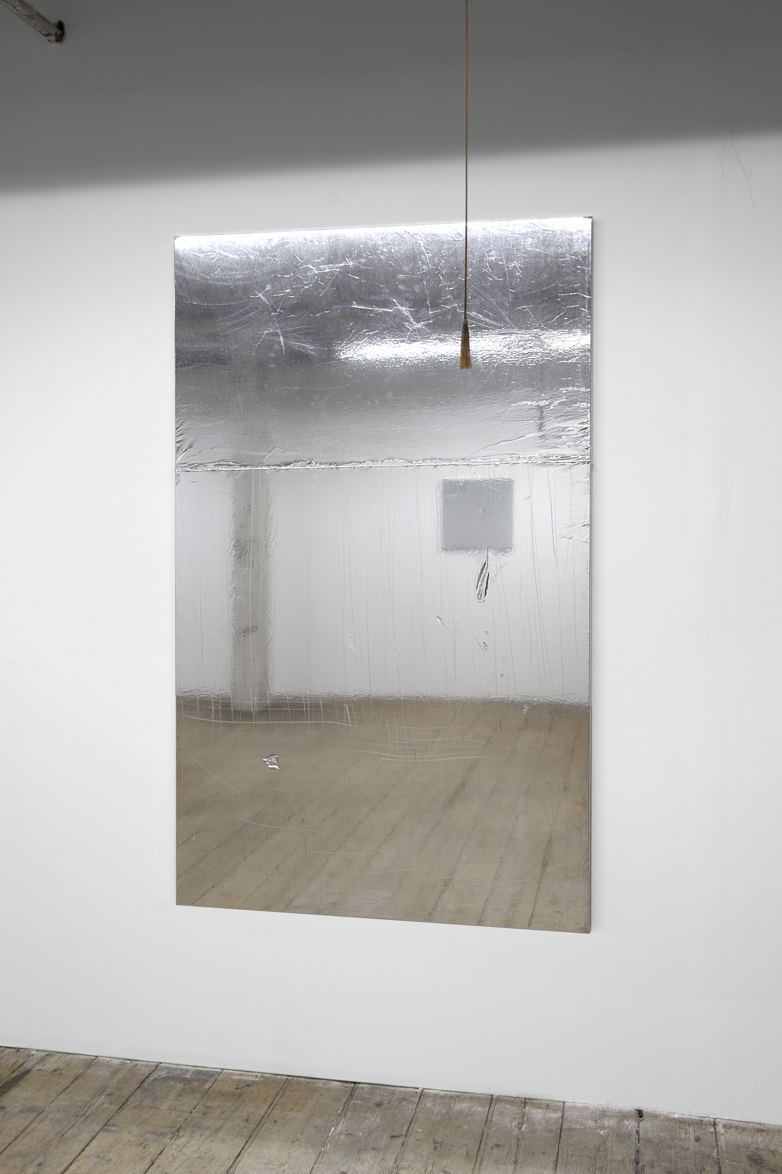 Mikkel Carl  Untitled (You Hate the Fact that You Bought the Dream and They Sold Your One),  2018  mirror foil mounted on canvas, aluminium stretcher bars 75 x 43 inches (190 x 110 cm) MC22