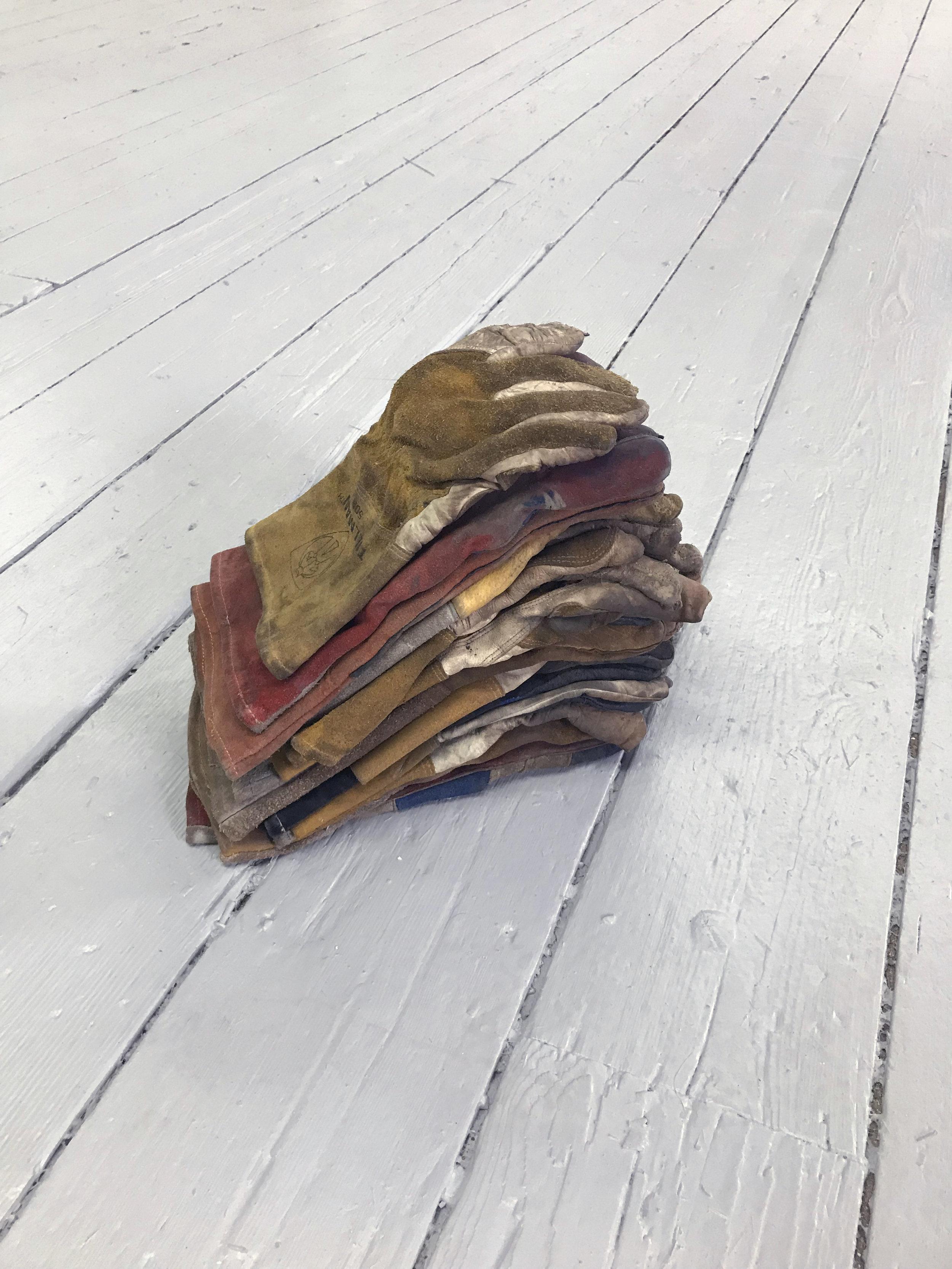 Brian Dario  Foam,  2018 18 unpaired gloves 18 x 6 x 9 inches (46 x 15 x 23 cm) (BD1)