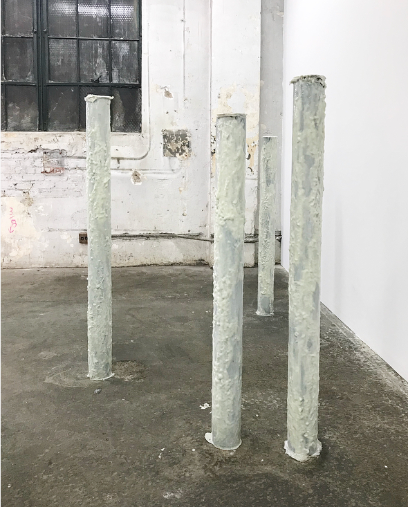 Michal Alpern  Resolutions I , 2018 (pillars) metal pipes, urethane rubber, epoxy resin, white dye  size variable to installation
