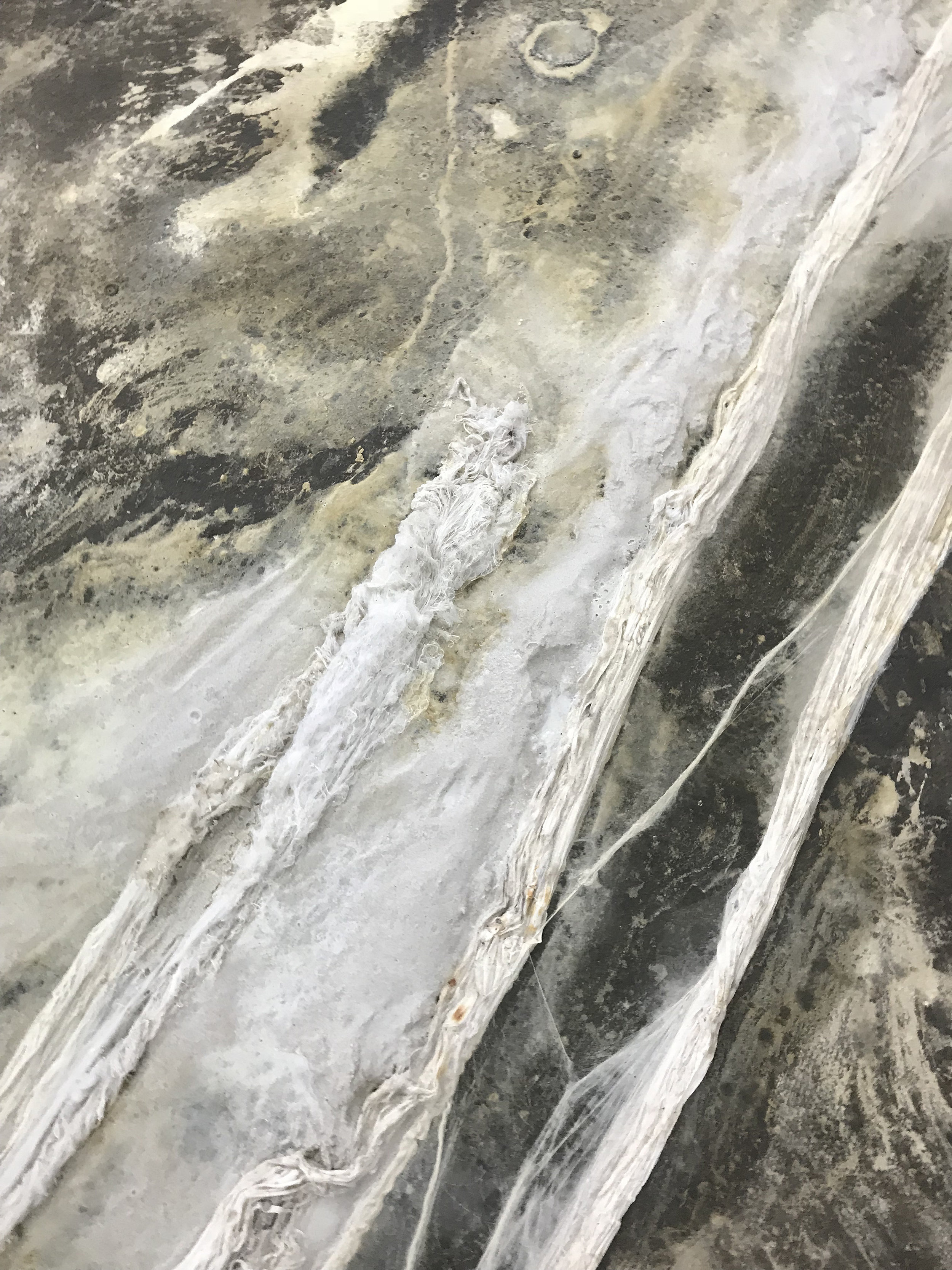 Michal Alpern  The Stalker's Nostalgia , 2018 (floor piece: detail) white concrete, sand, nylon fibers size variable to installation
